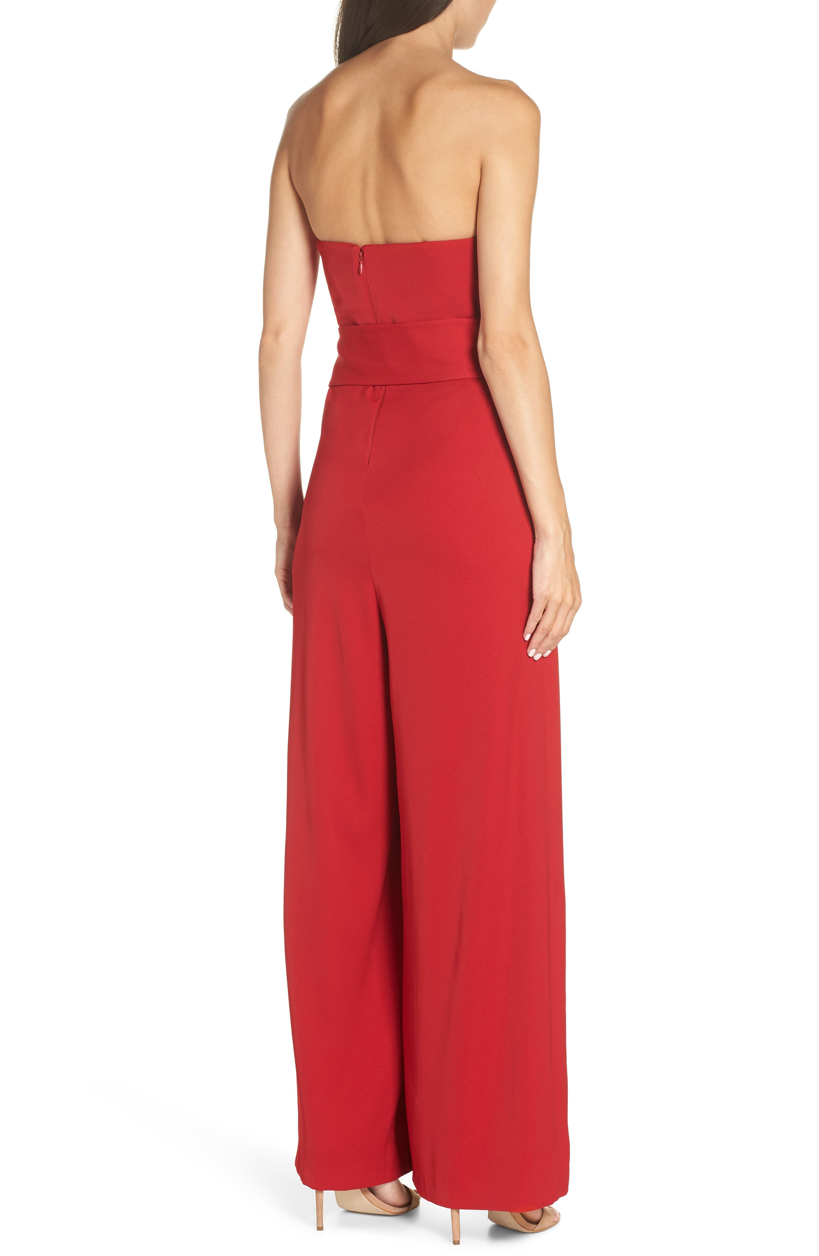 Strapless Crepe Jumpsuit,                             Alternate thumbnail 2, color,                             RED