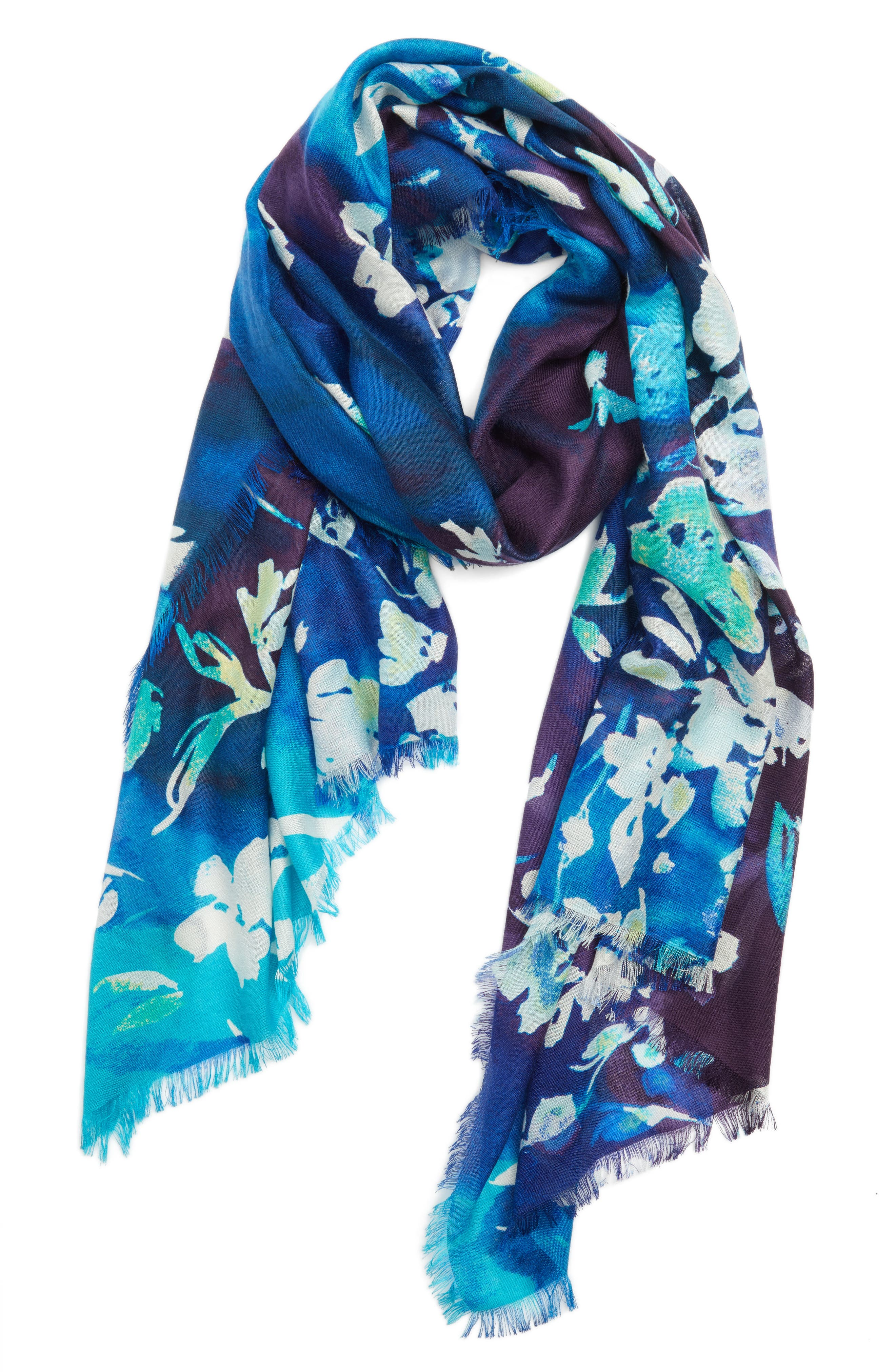 Musical Flower Cashmere & Silk Scarf,                             Alternate thumbnail 4, color,