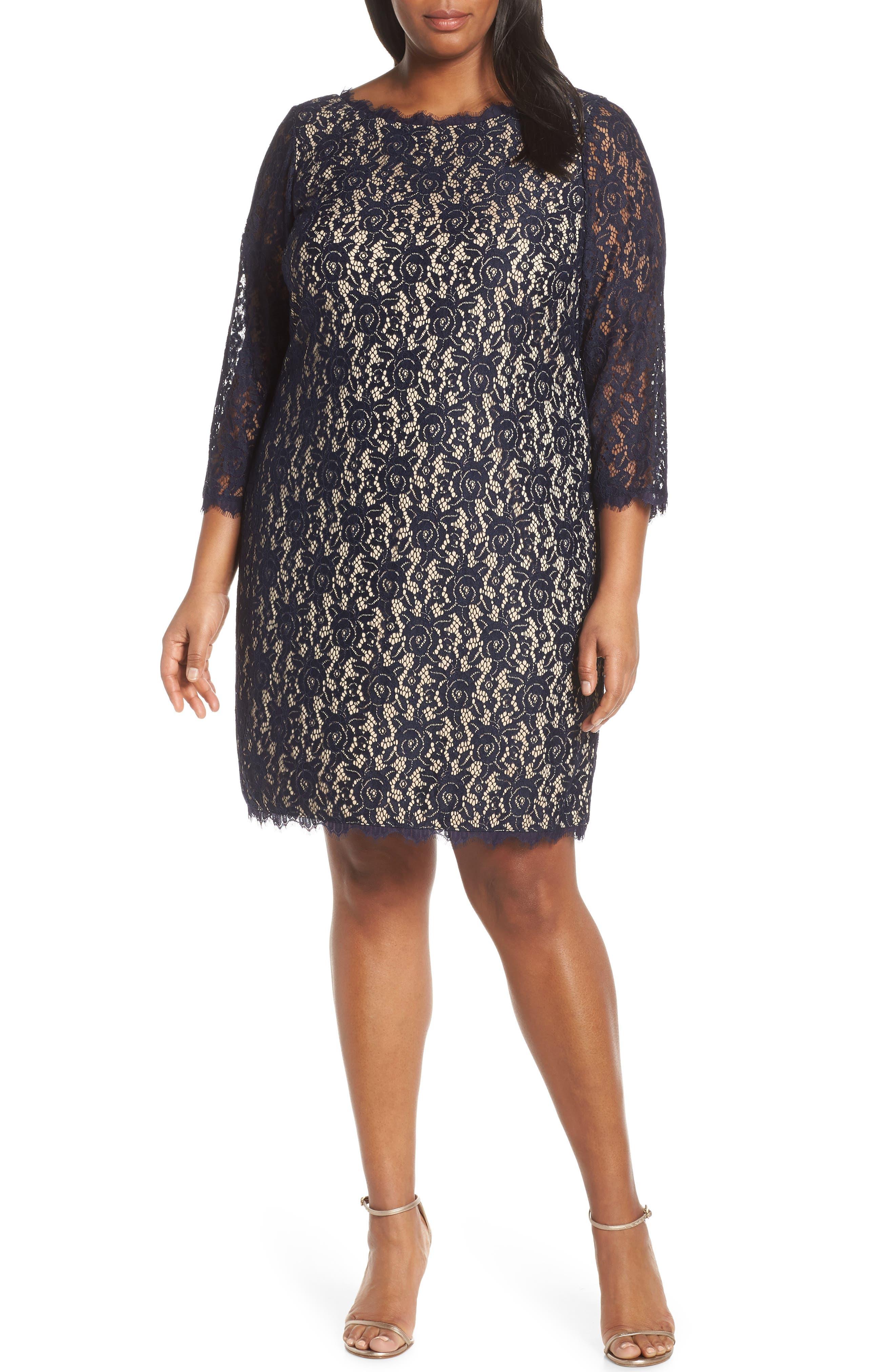 Plus Size Eliza J Lace Cocktail Dress, Blue