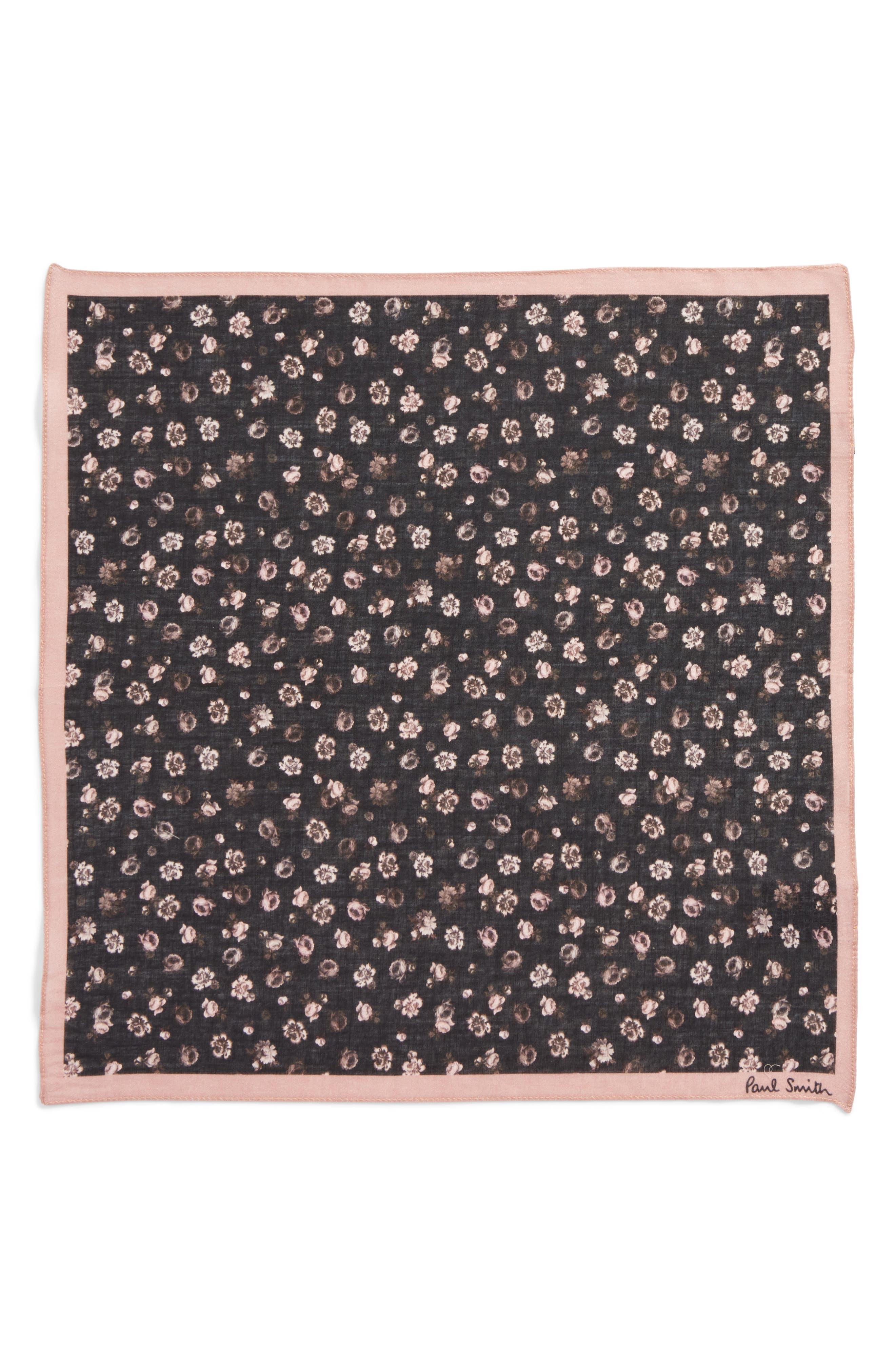 Floral Cotton Pocket Square,                             Alternate thumbnail 2, color,                             001