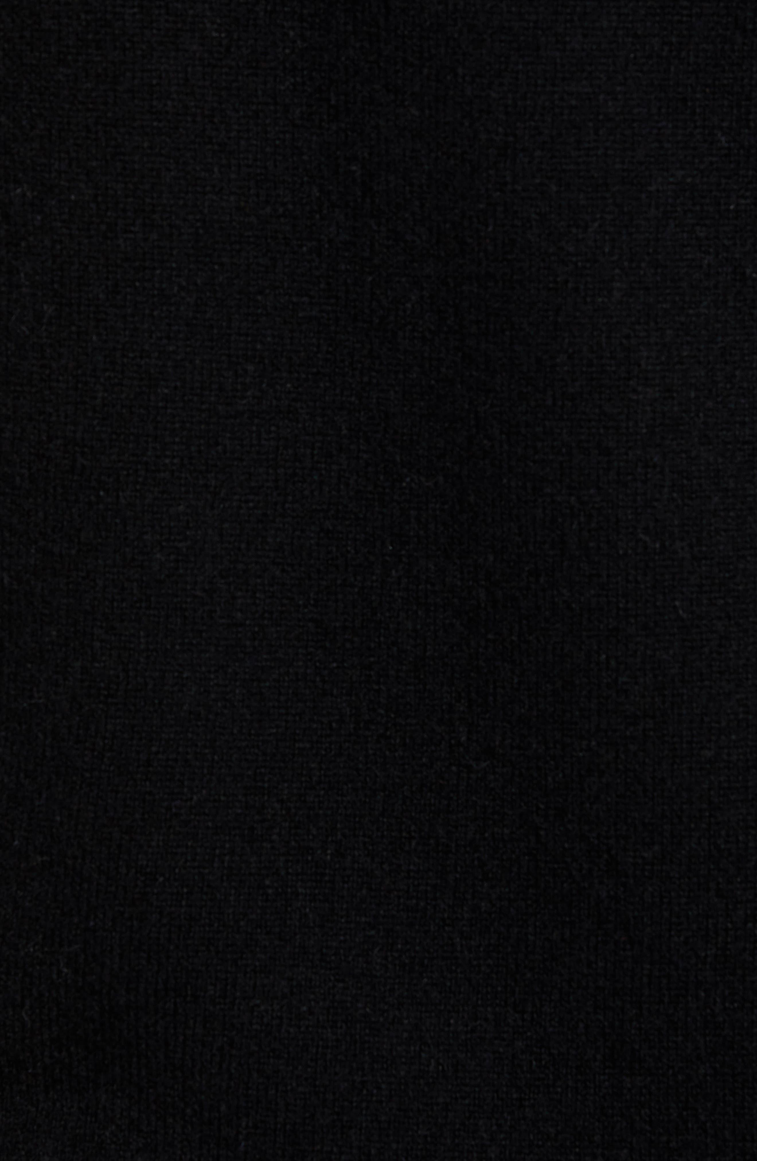 Cashmere V-Neck Sweater,                             Alternate thumbnail 5, color,                             BLACK CAVIAR