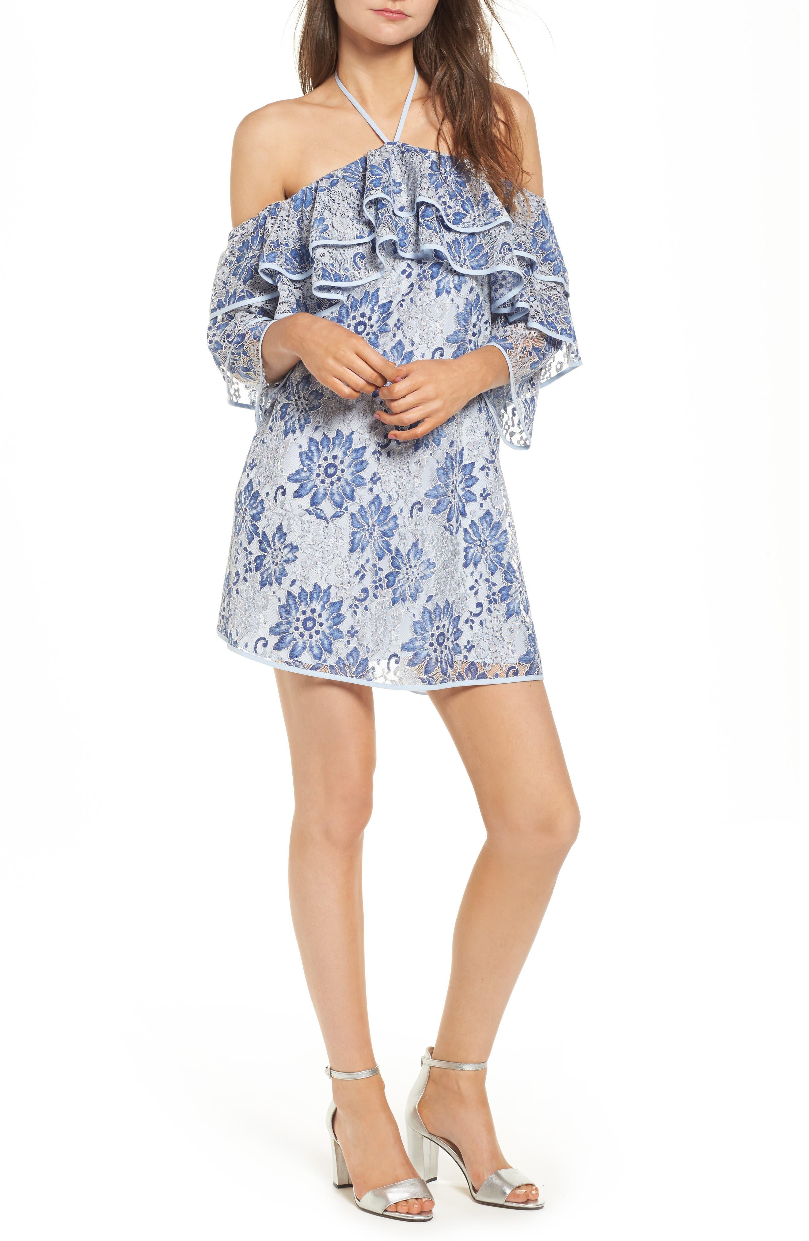 Dena Off the Shoulder Shift Dress,                         Main,                         color, 401