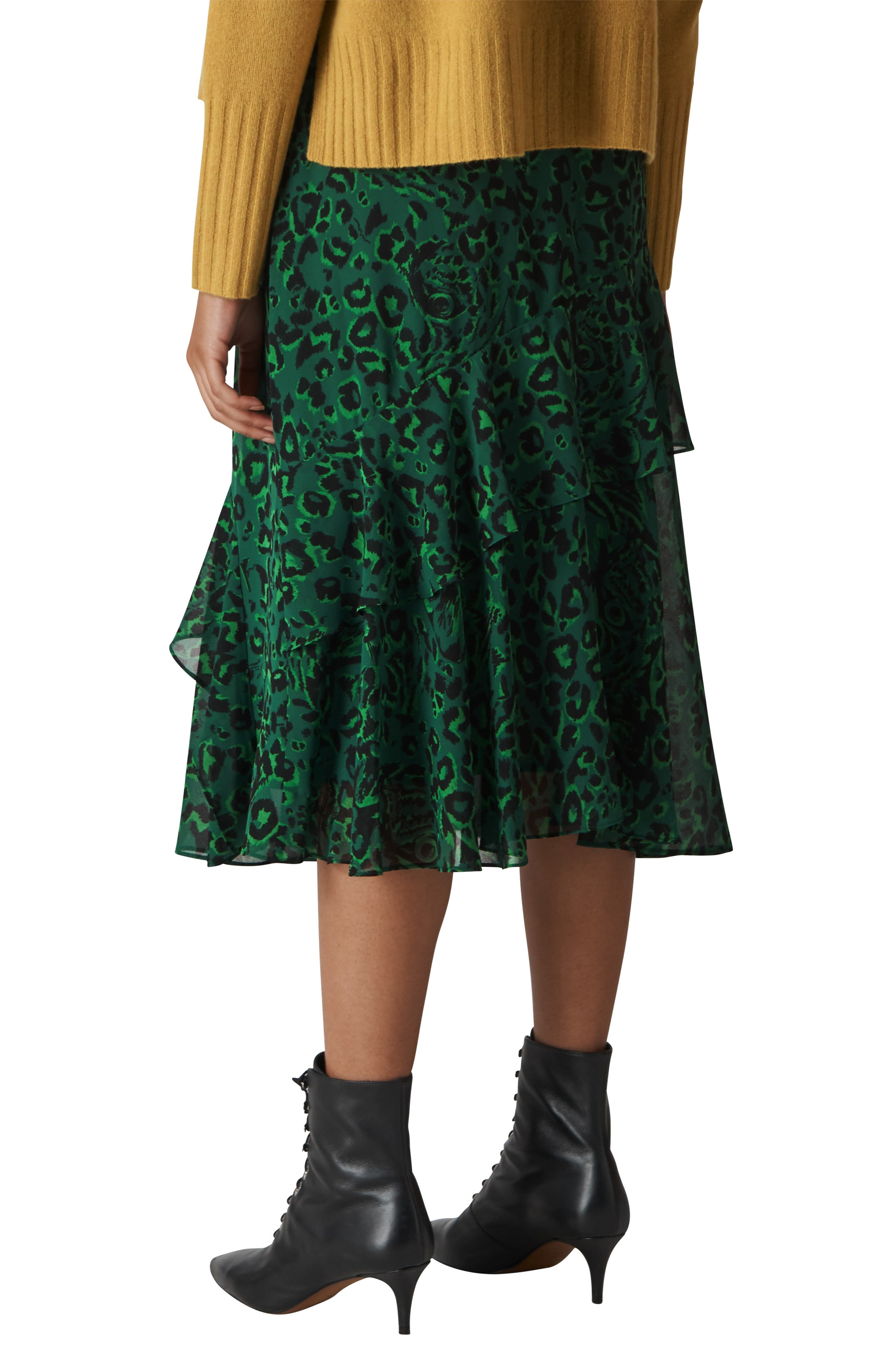 Jungle Cat Ruffle Skirt,                             Alternate thumbnail 2, color,                             GREEN/ MULTI