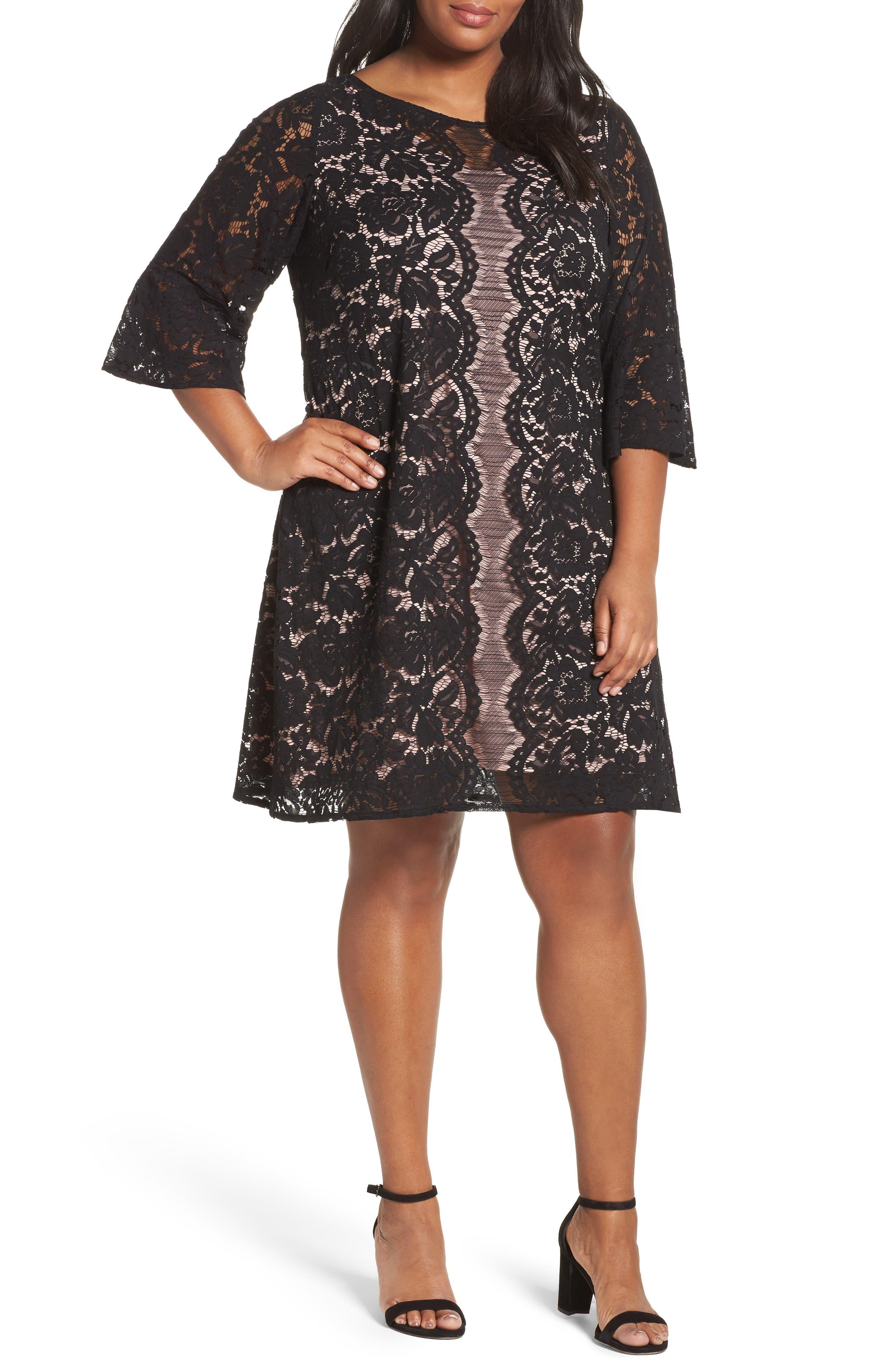Lace A-Line Dress,                             Main thumbnail 1, color,                             001