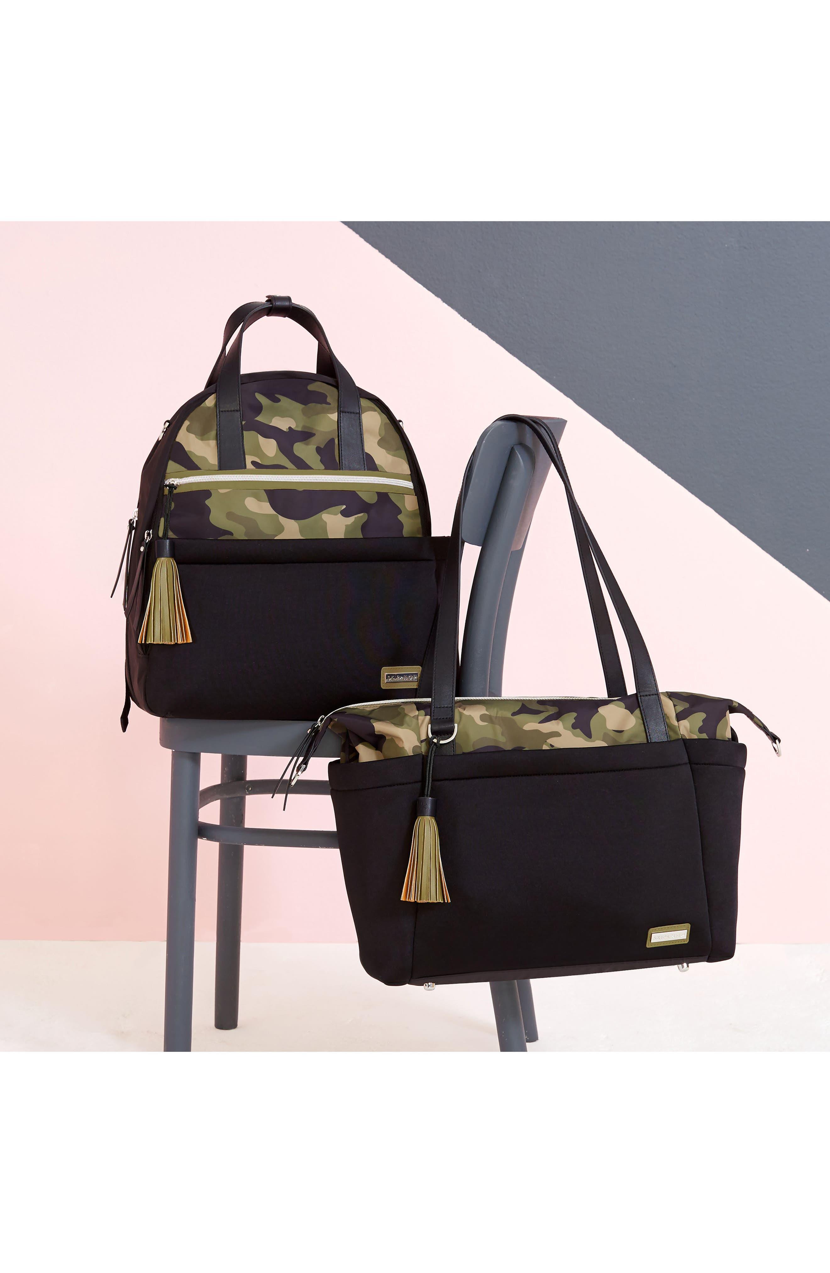 Nolita Neoprene Diaper Backpack,                             Alternate thumbnail 4, color,                             BLACK/ DARK CAMO