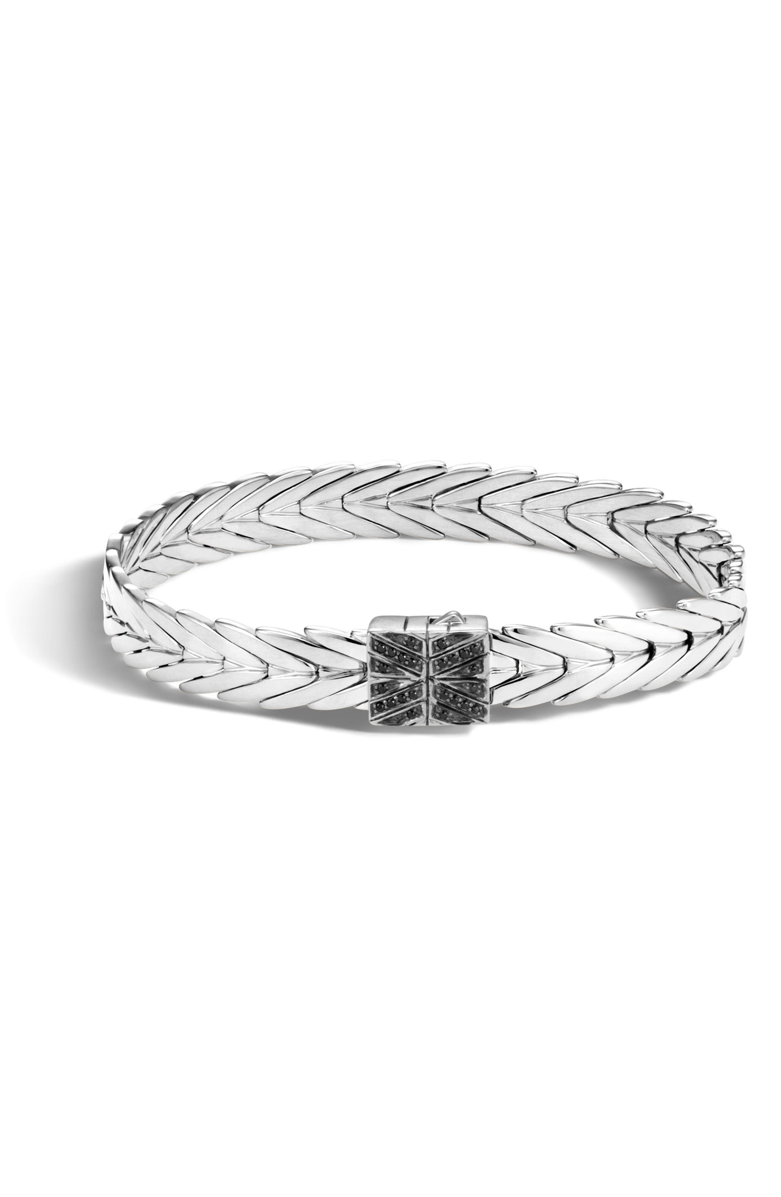Modern Chain Bracelet with Black Spinel,                             Main thumbnail 1, color,                             SILVER/ BLACK SPINEL