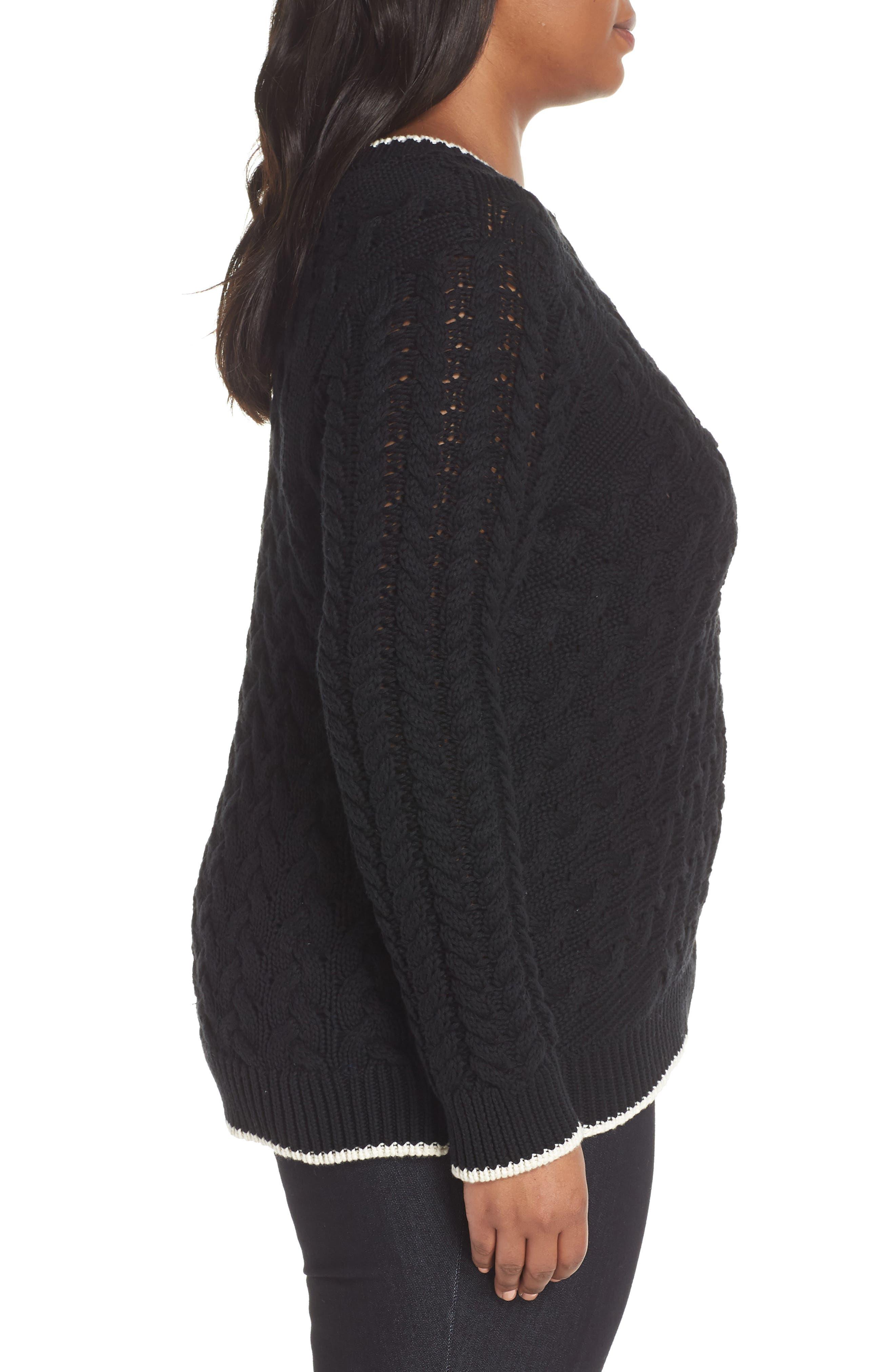 Contrast Trim Cable Sweater,                             Alternate thumbnail 3, color,                             RICH BLACK