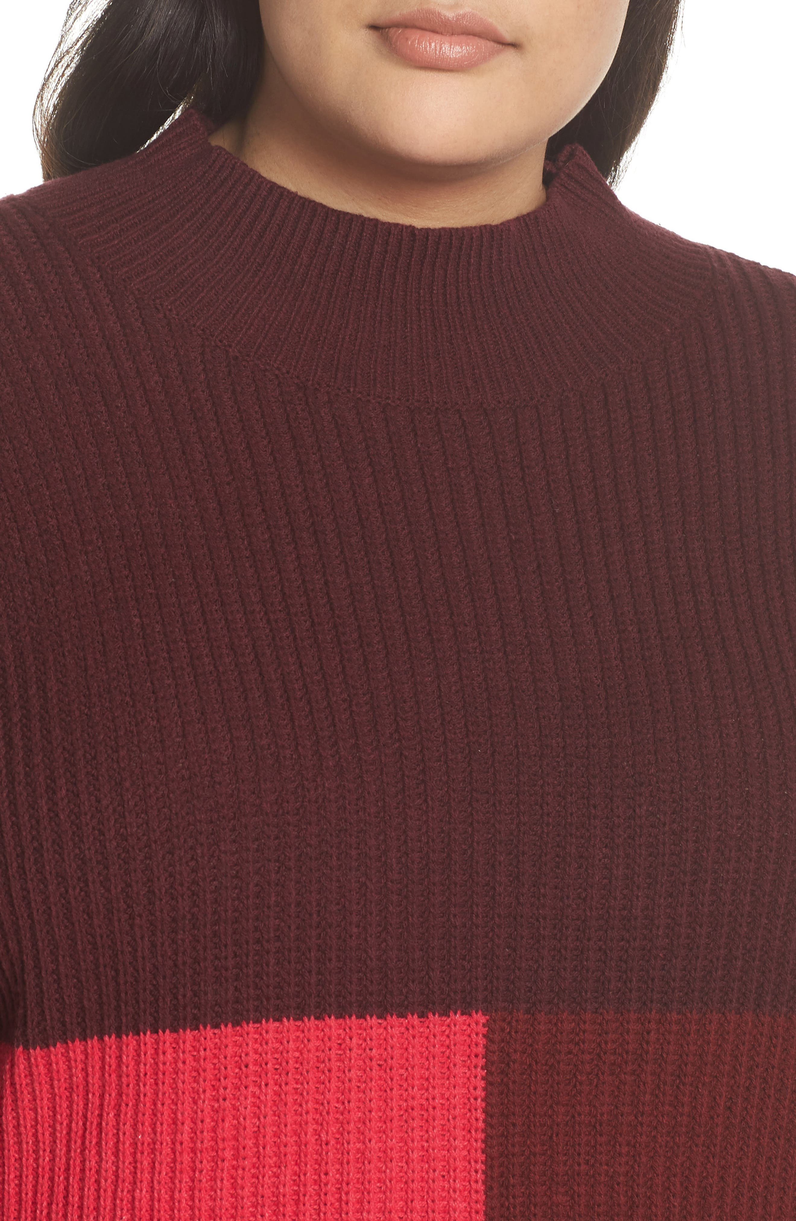 Mock Neck Colorblock Sweater,                             Alternate thumbnail 10, color,                             RED RUMBA COLORBLOCK