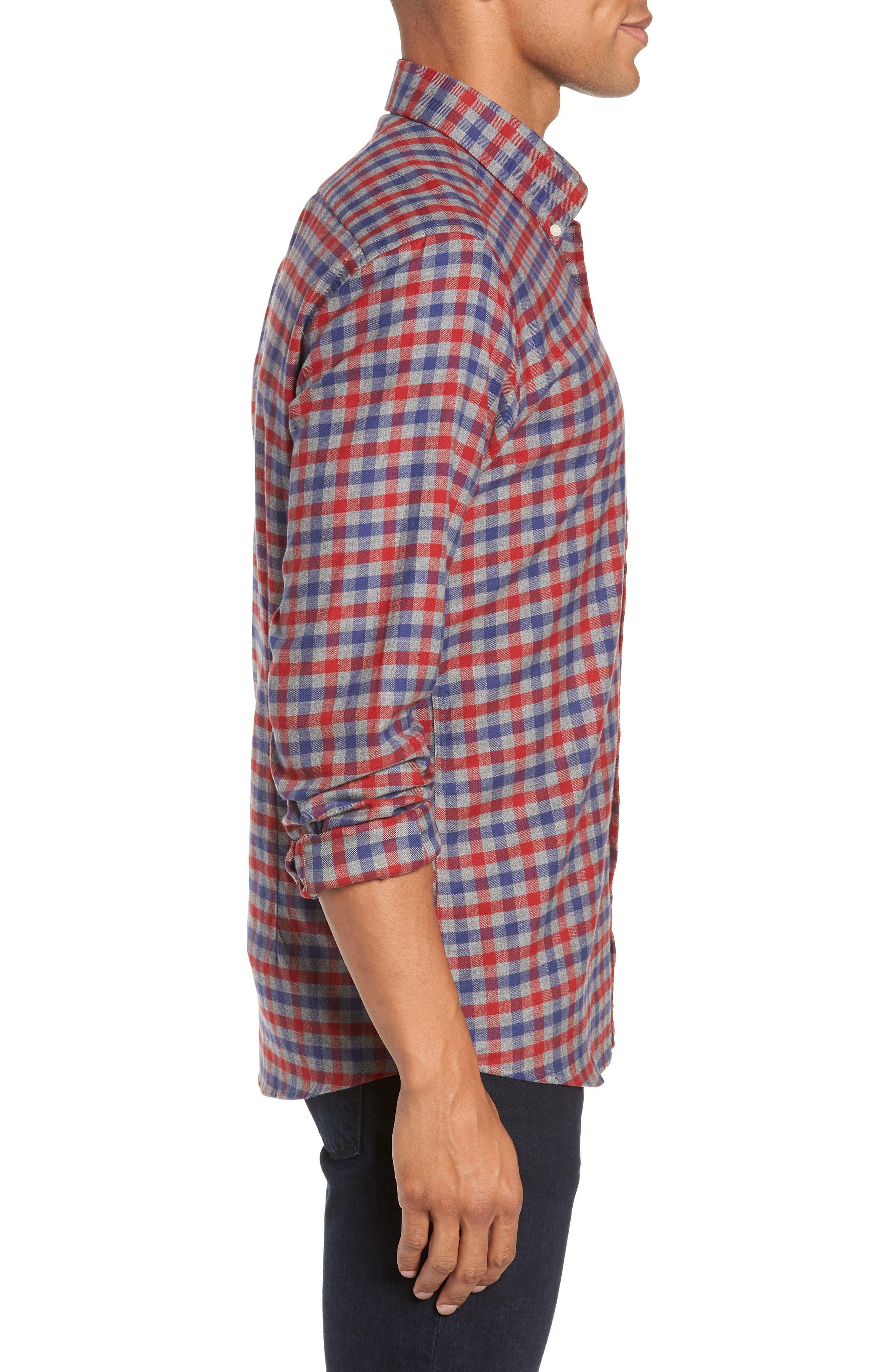 Moss Check Flannel Sport Shirt,                             Alternate thumbnail 4, color,                             630