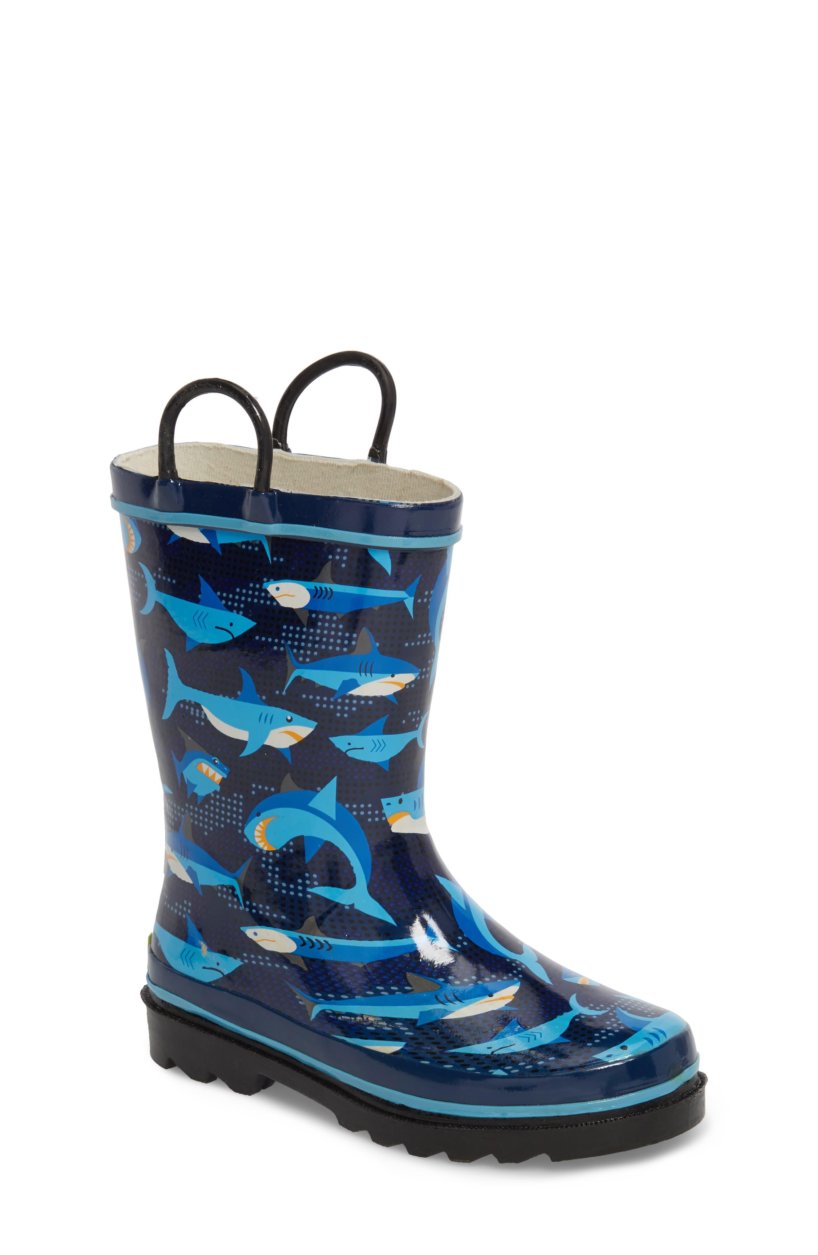 Pixel Shark Camo Rain Boot,                             Main thumbnail 1, color,                             NAVY