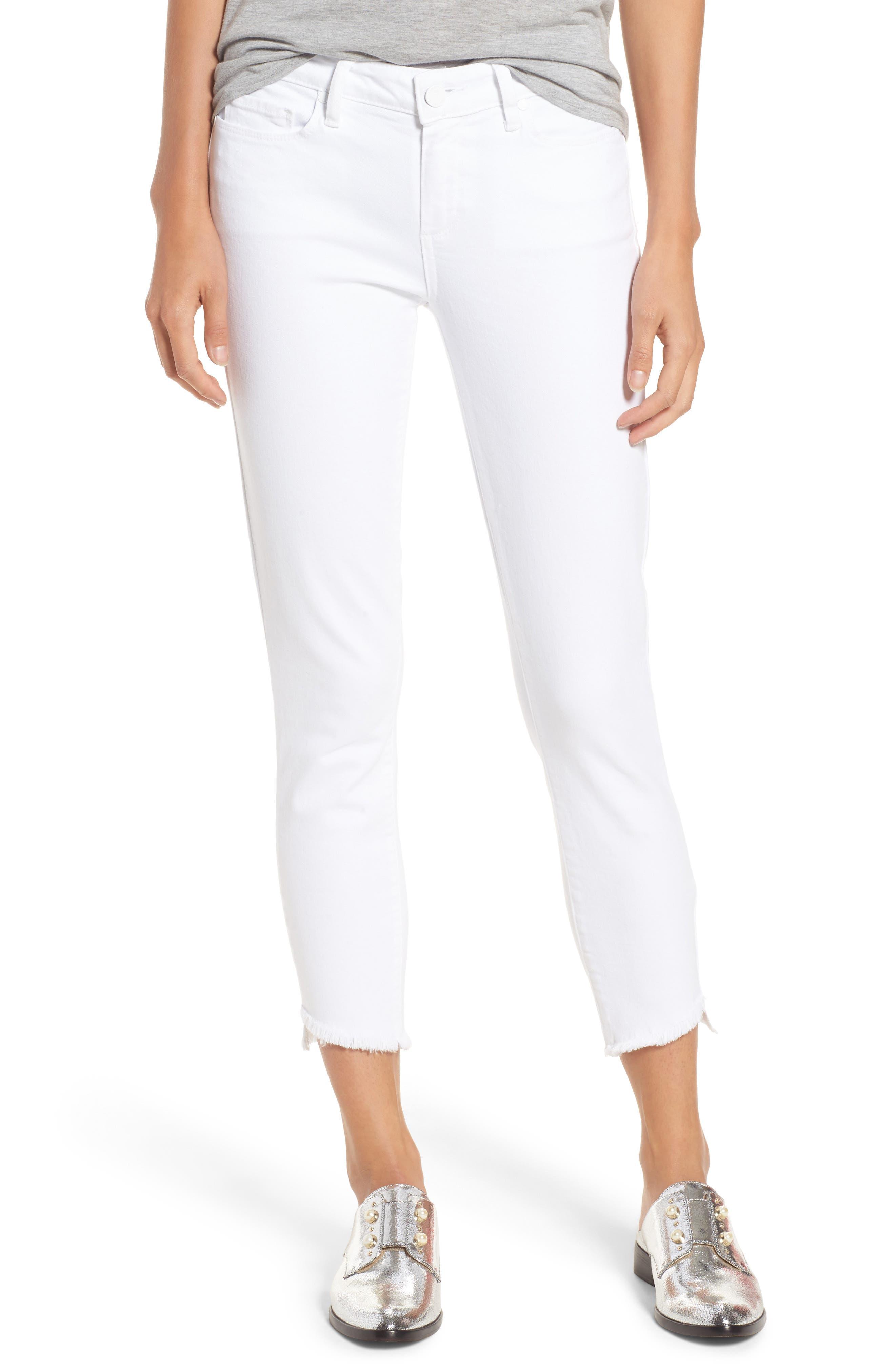 Verdugo Slanted Crop Skinny Jeans,                             Main thumbnail 1, color,                             CRISP WHITE