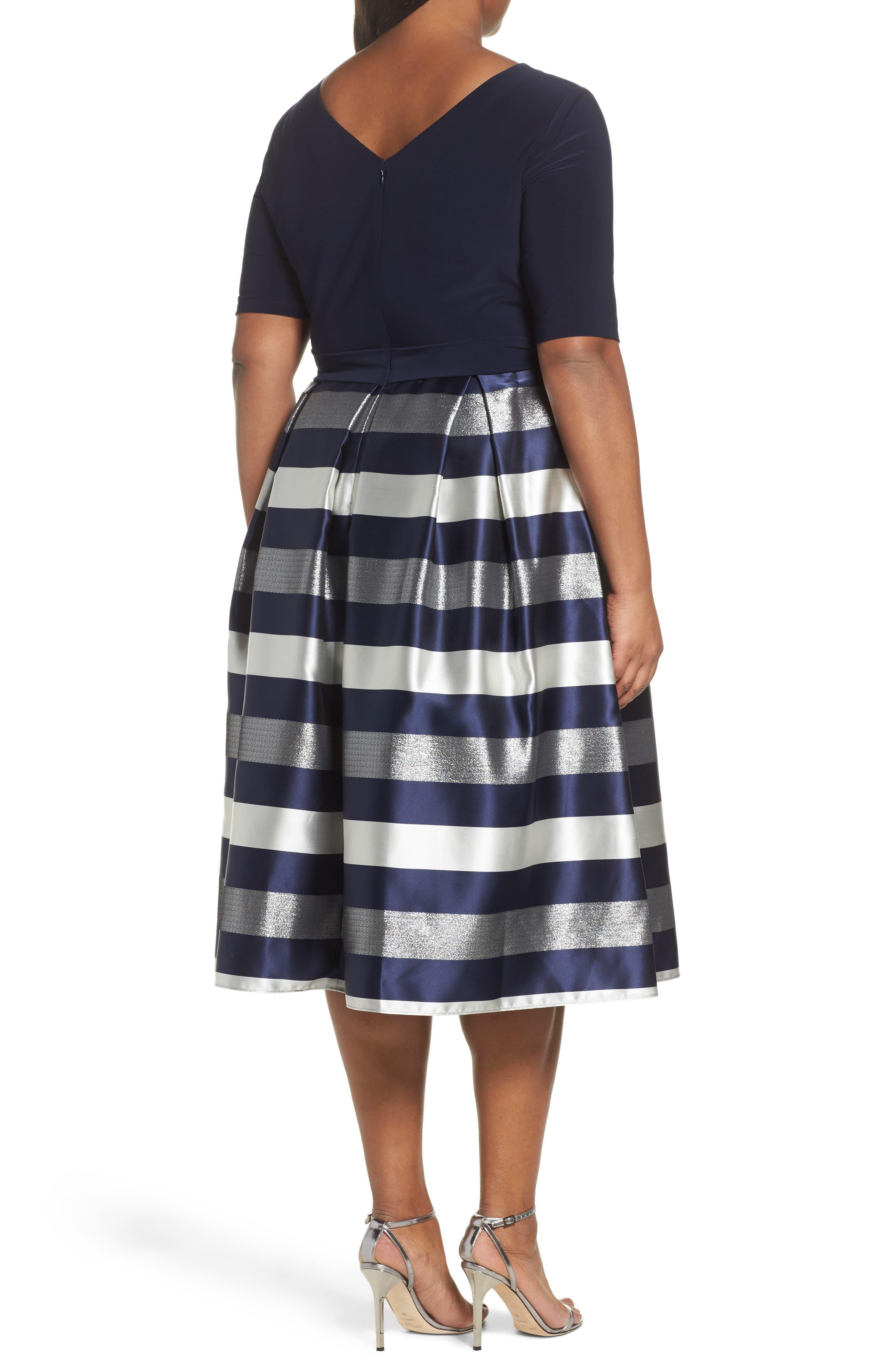 Mixed Media Fit & Flare Dress,                             Alternate thumbnail 2, color,                             473