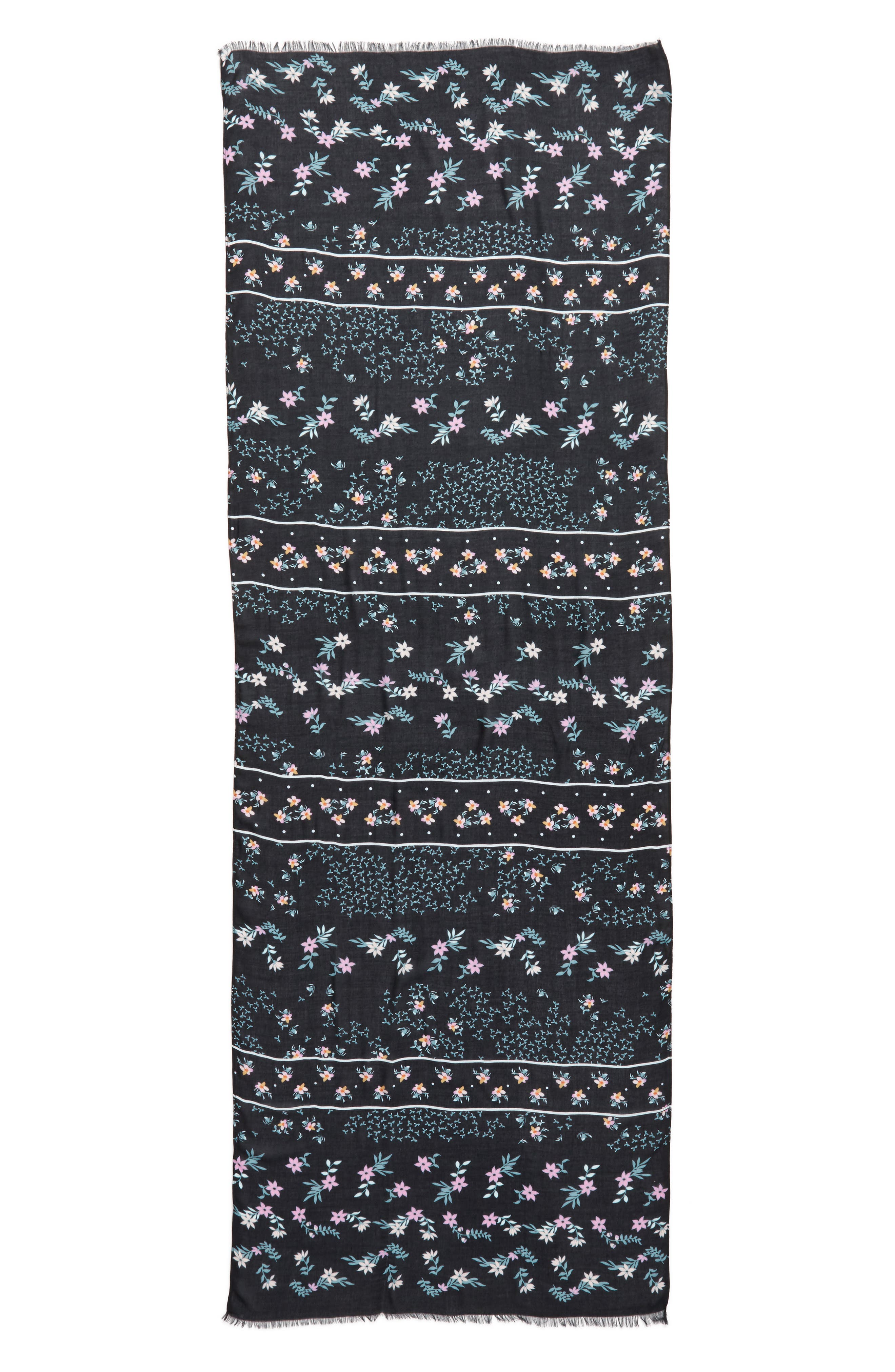 Twilight Floral Scarf,                             Alternate thumbnail 3, color,                             BLACK