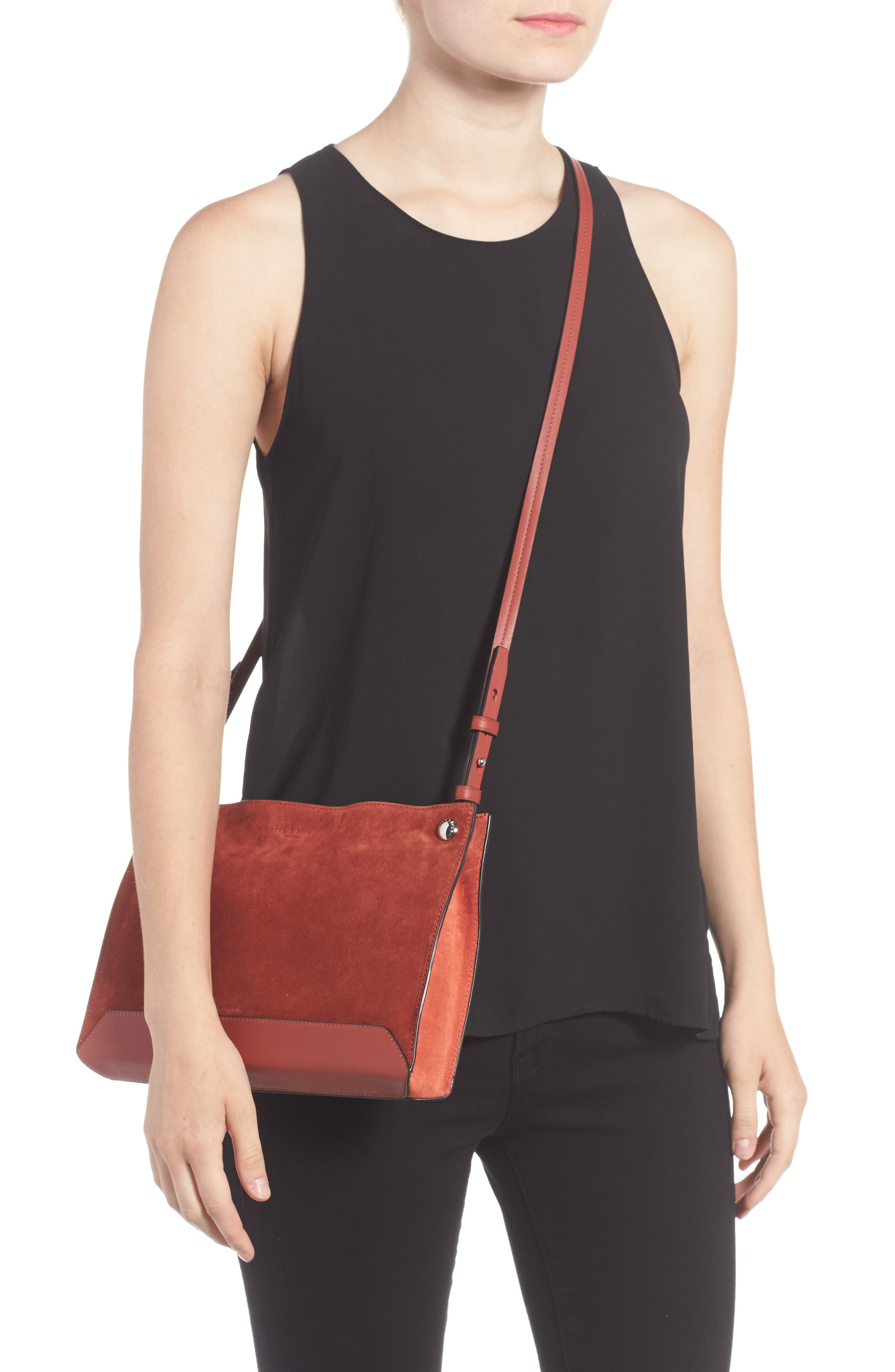 Compass Suede Crossbody Bag,                             Alternate thumbnail 2, color,                             629