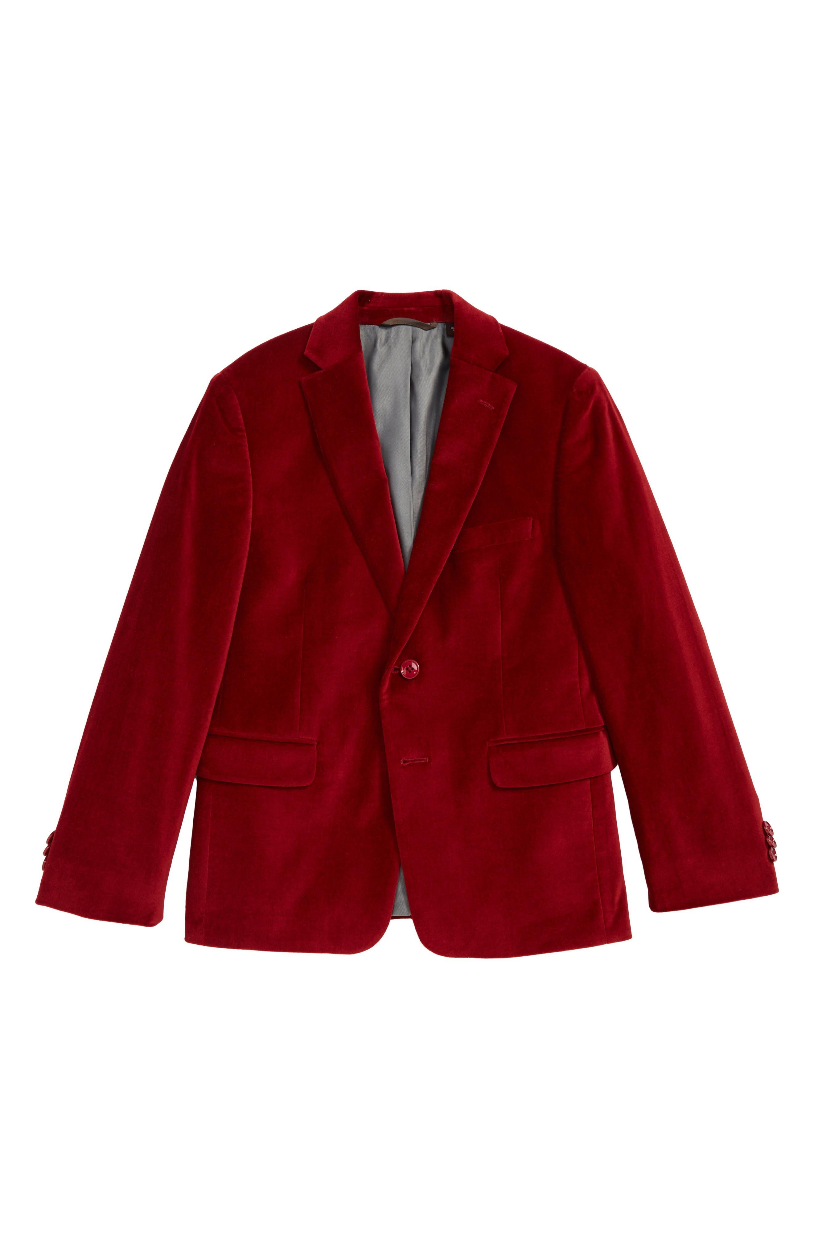 Velveteen Blazer, Main, color, RED