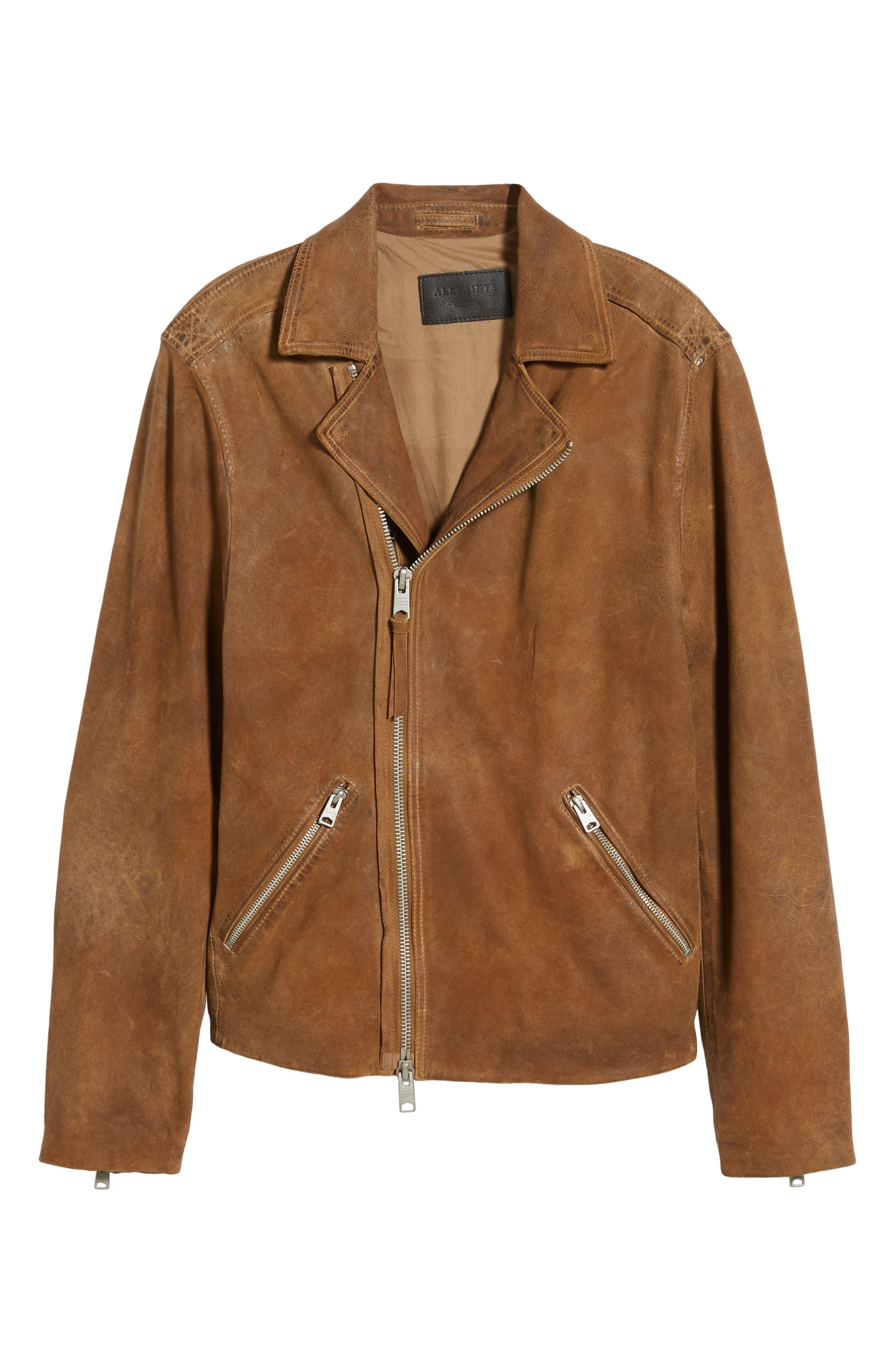 Judd Slim Fit Leather Biker Jacket,                             Alternate thumbnail 5, color,                             219