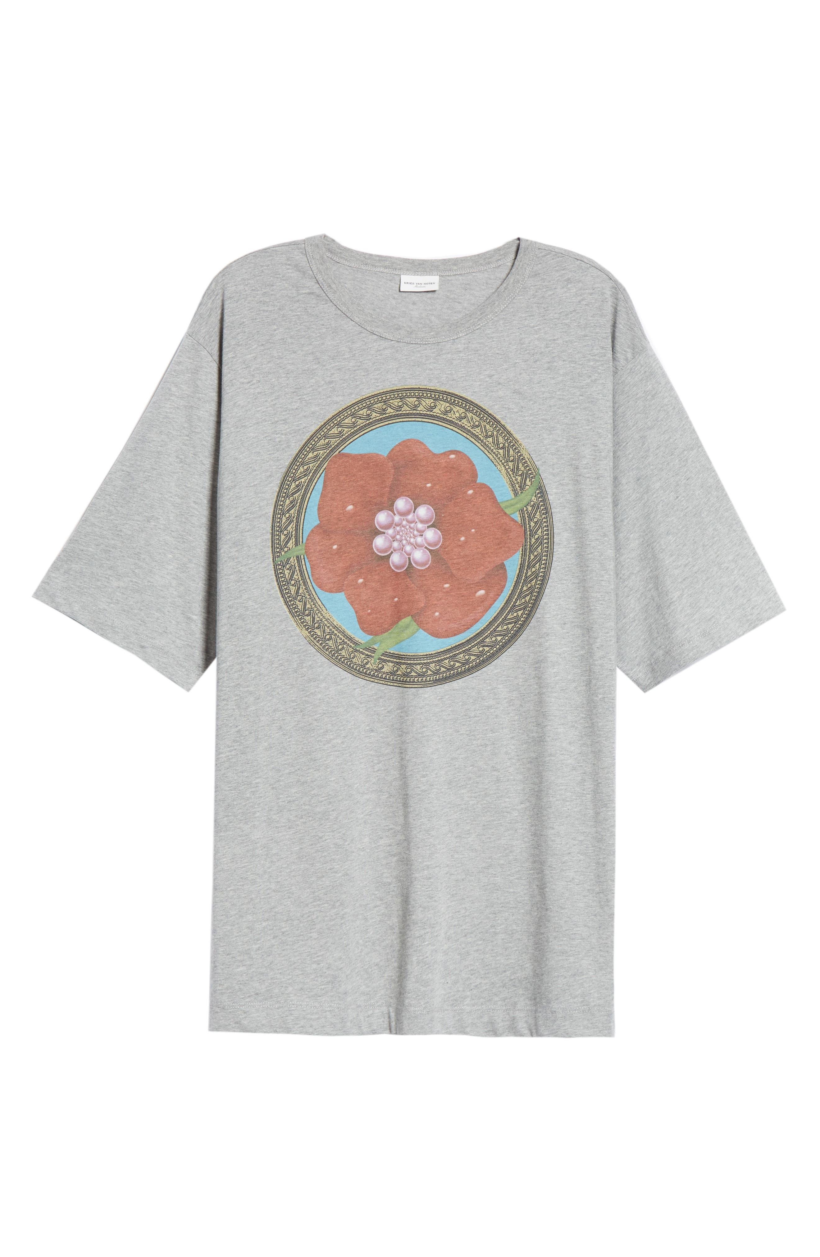 Flower Print T-Shirt,                             Alternate thumbnail 6, color,                             GREY MEL