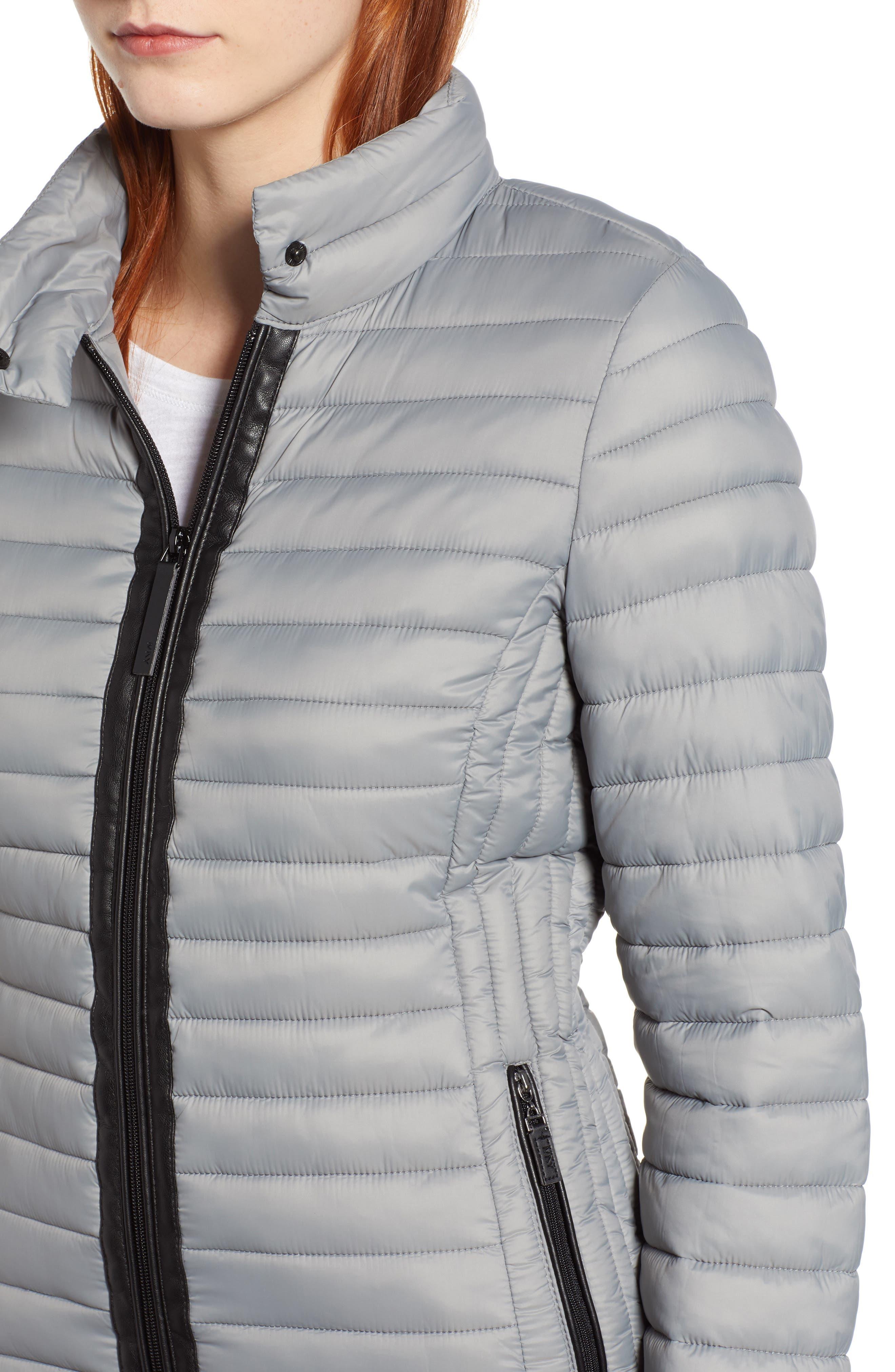 Stripe Trim Packable Down Jacket,                             Alternate thumbnail 4, color,                             STERLING