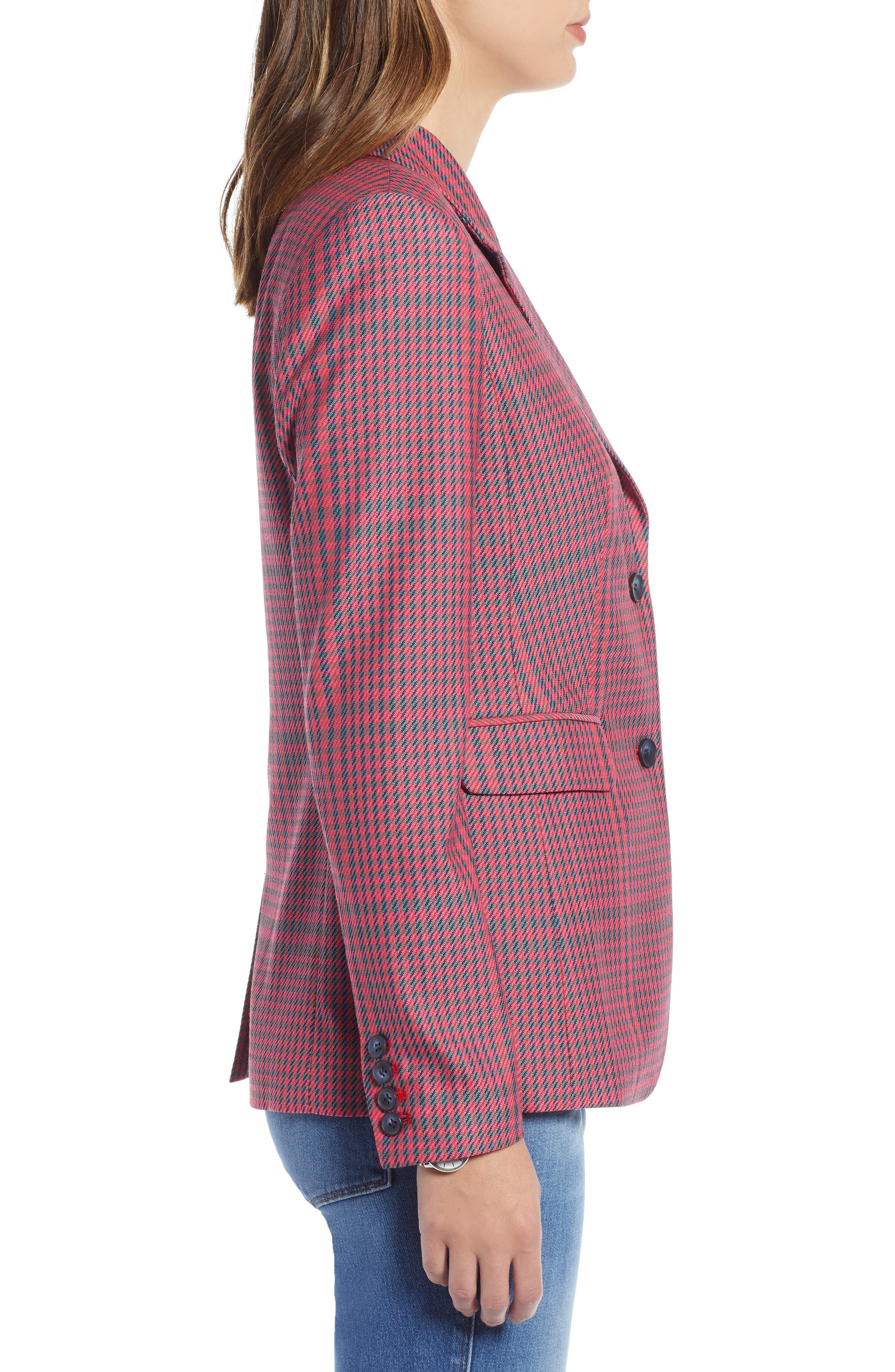 Plaid Blazer,                             Alternate thumbnail 3, color,                             PINK SIMONE PLAID
