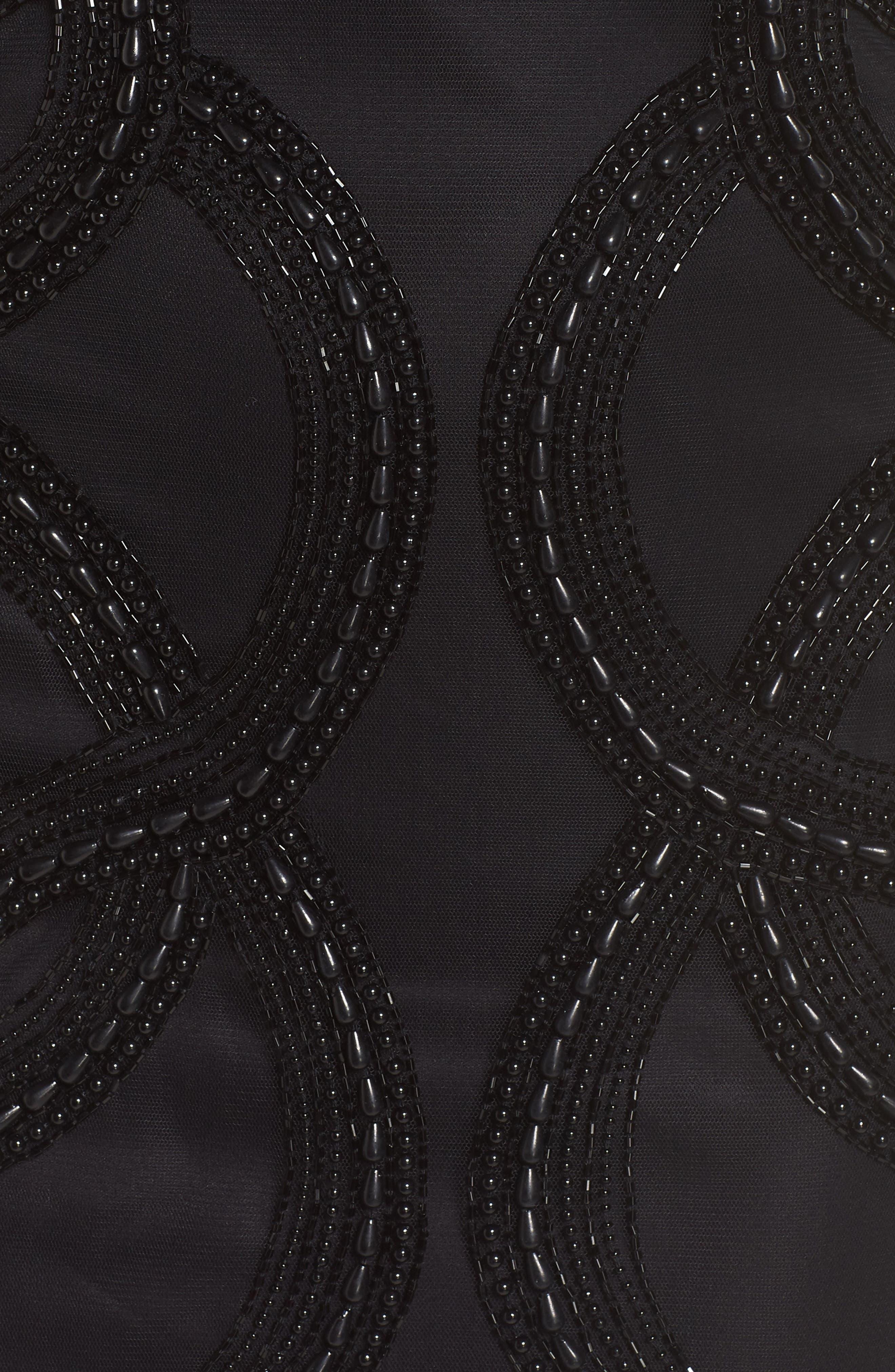 Beaded Swirls Cocktail Dress,                             Alternate thumbnail 6, color,                             BLACK