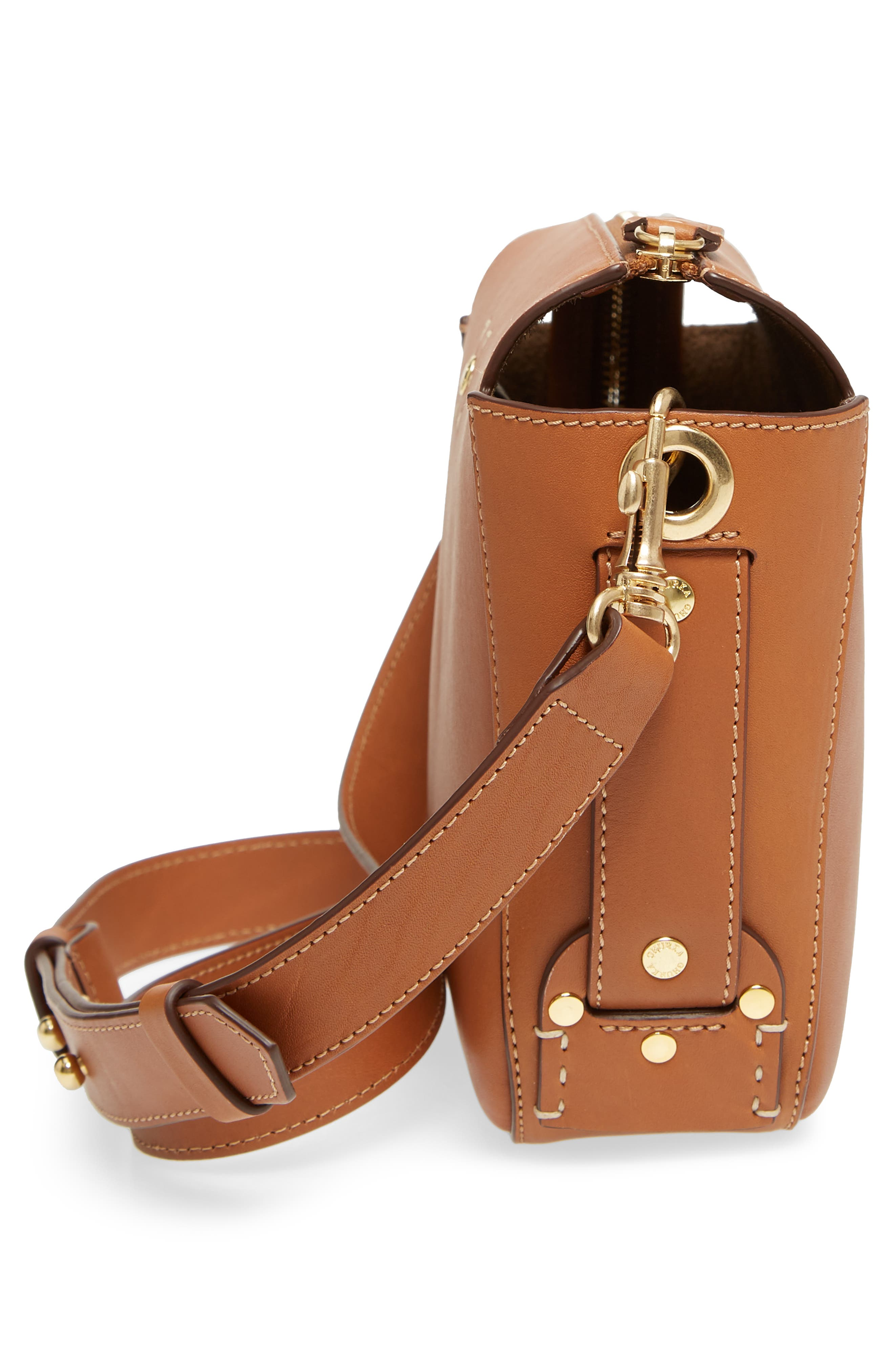 Tilley Leather Crossbody Bag,                             Alternate thumbnail 5, color,                             CHESTNUT