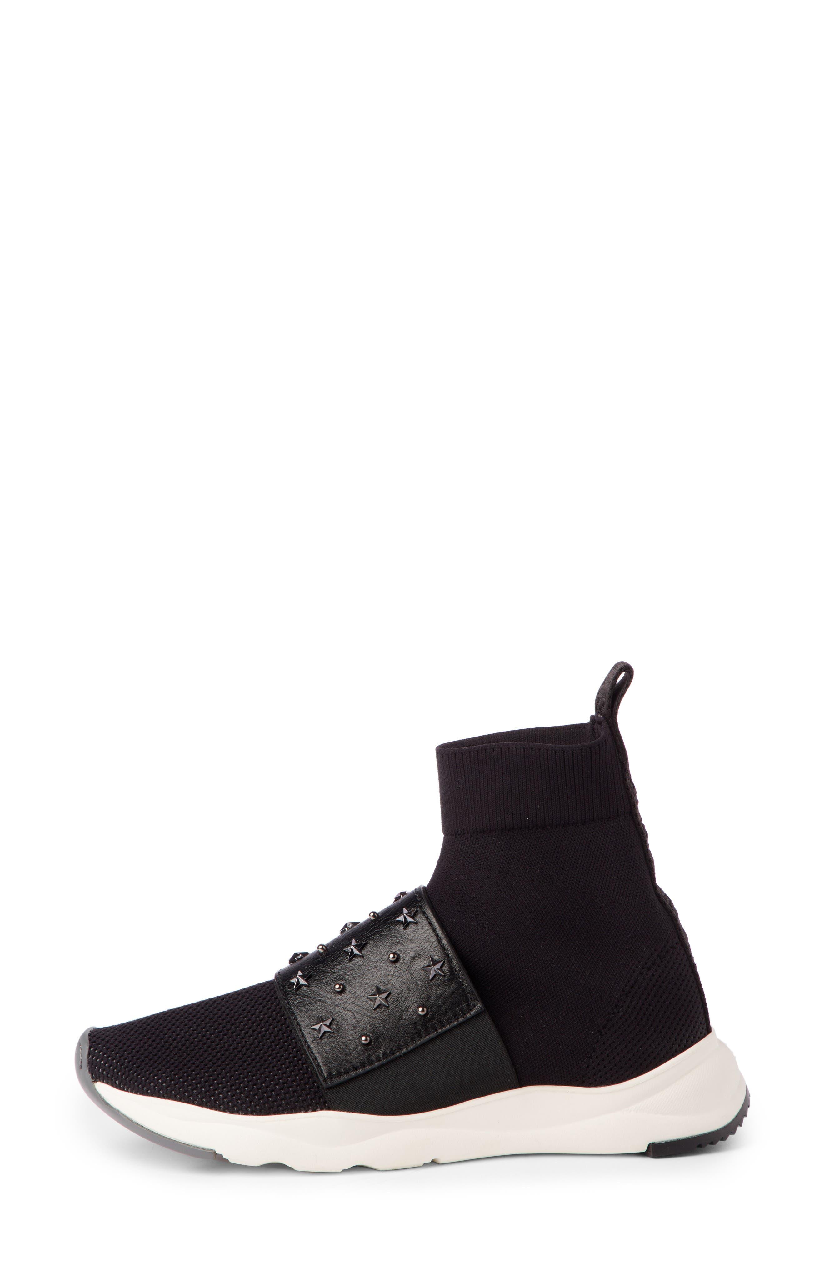 Cameron Studded Sock Sneaker,                             Alternate thumbnail 3, color,                             BLACK