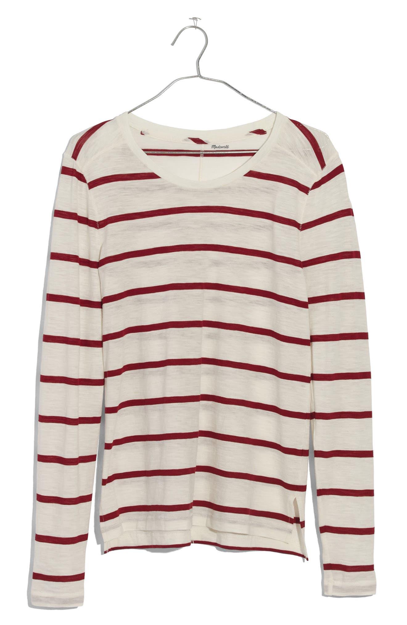 Whisper Cotton Stripe Long Sleeve Tee,                             Alternate thumbnail 3, color,                             100