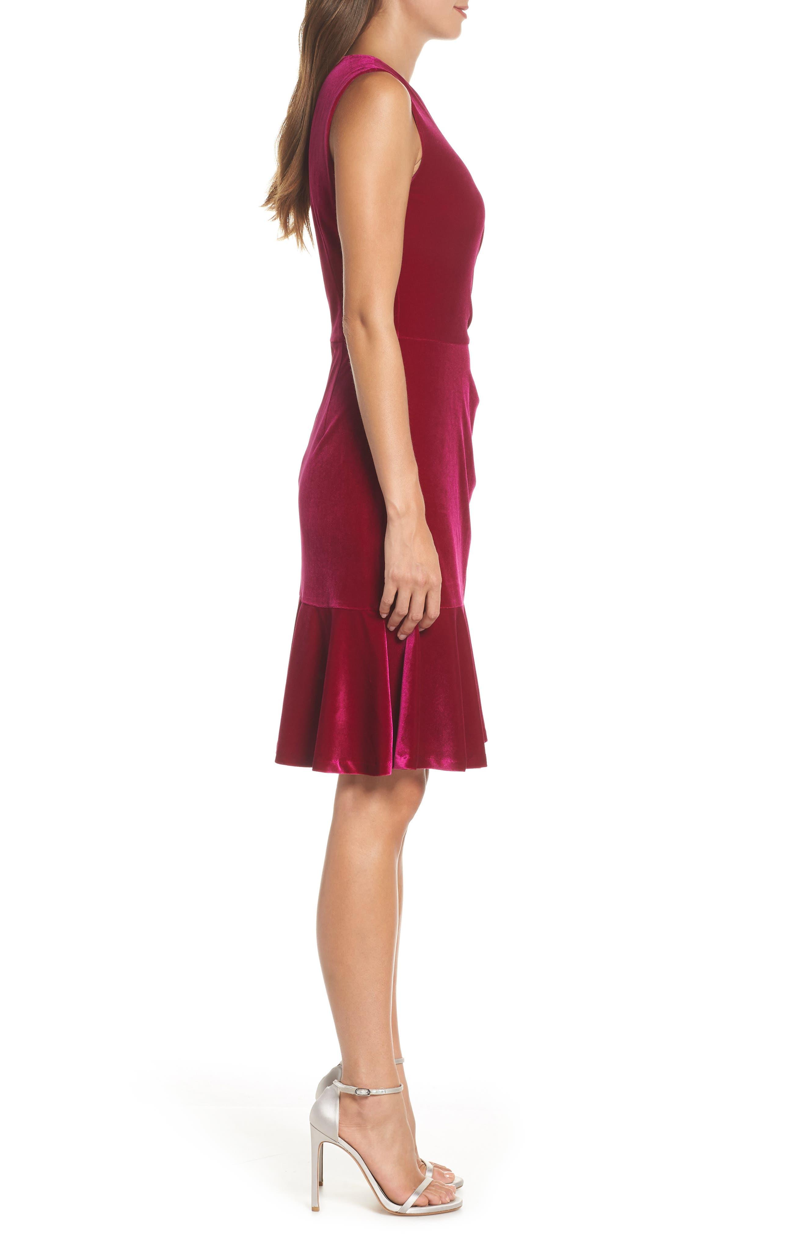 Draped Velvet Sheath Dress,                             Alternate thumbnail 3, color,                             FUCHSIA