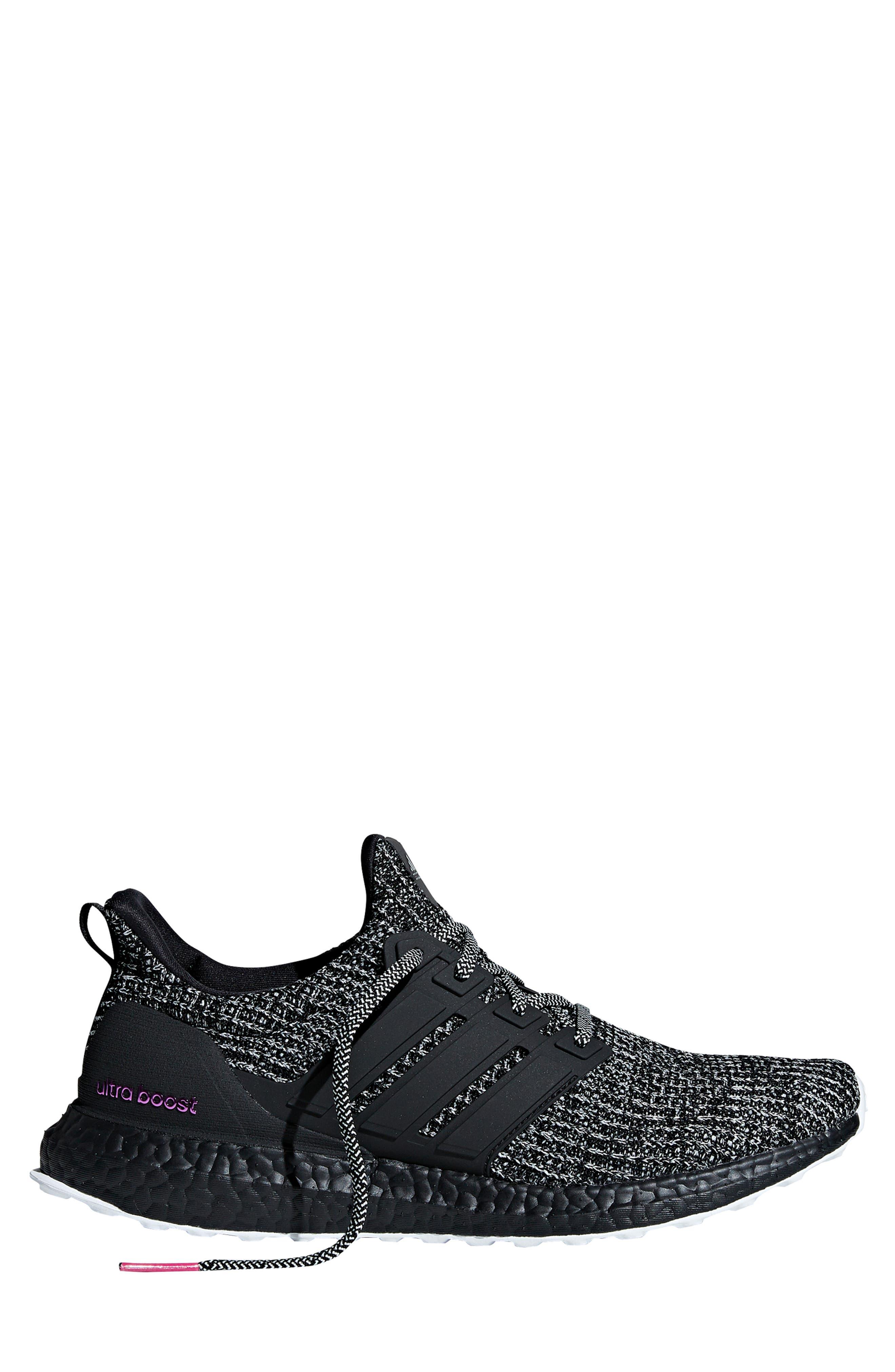 'UltraBoost' Running Shoe,                             Alternate thumbnail 3, color,                             CLOUD WHITE/ BLACK/ SHOCK PINK