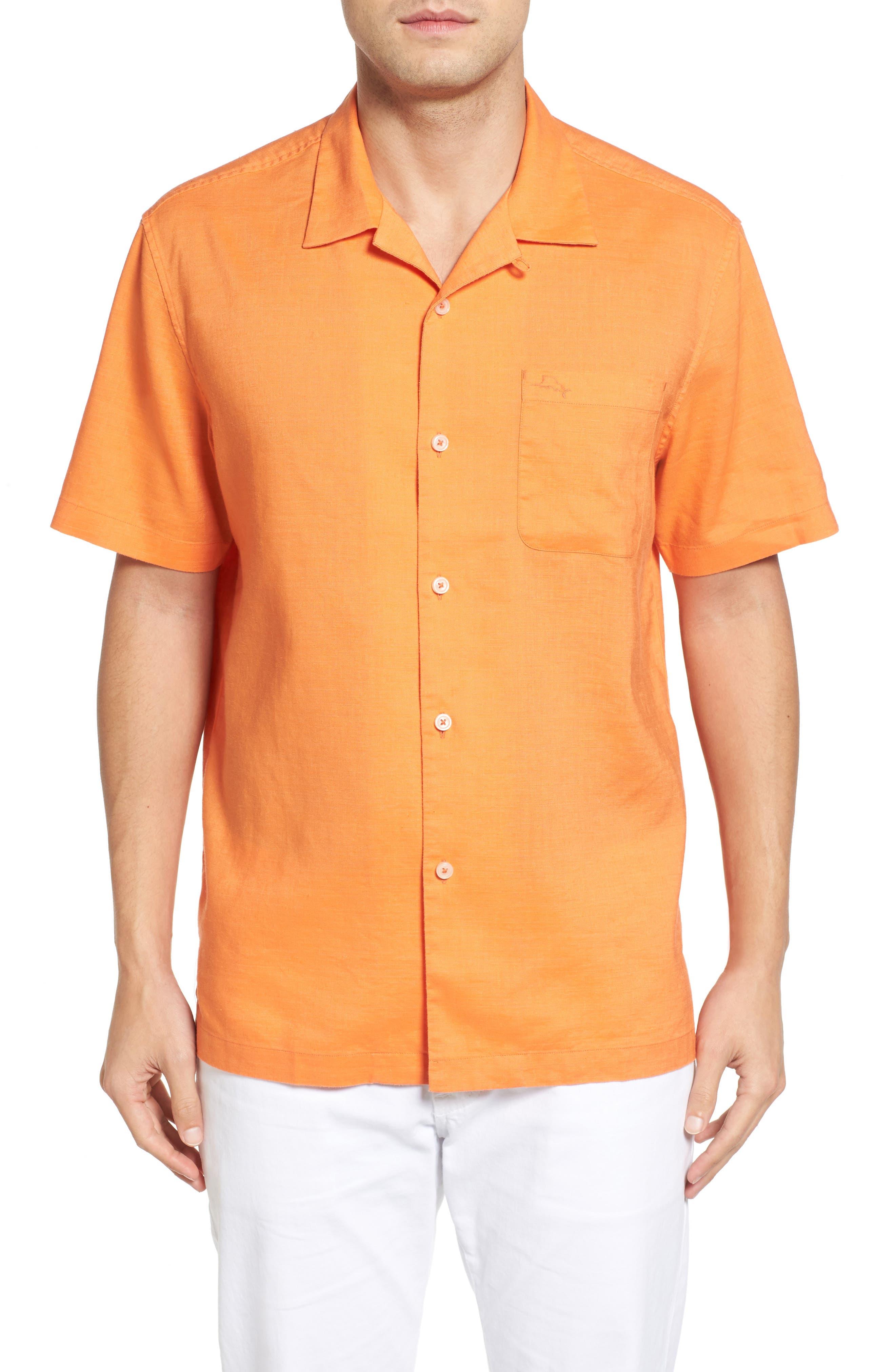 Monaco Tides Standard Fit Linen Blend Camp Shirt,                             Main thumbnail 6, color,
