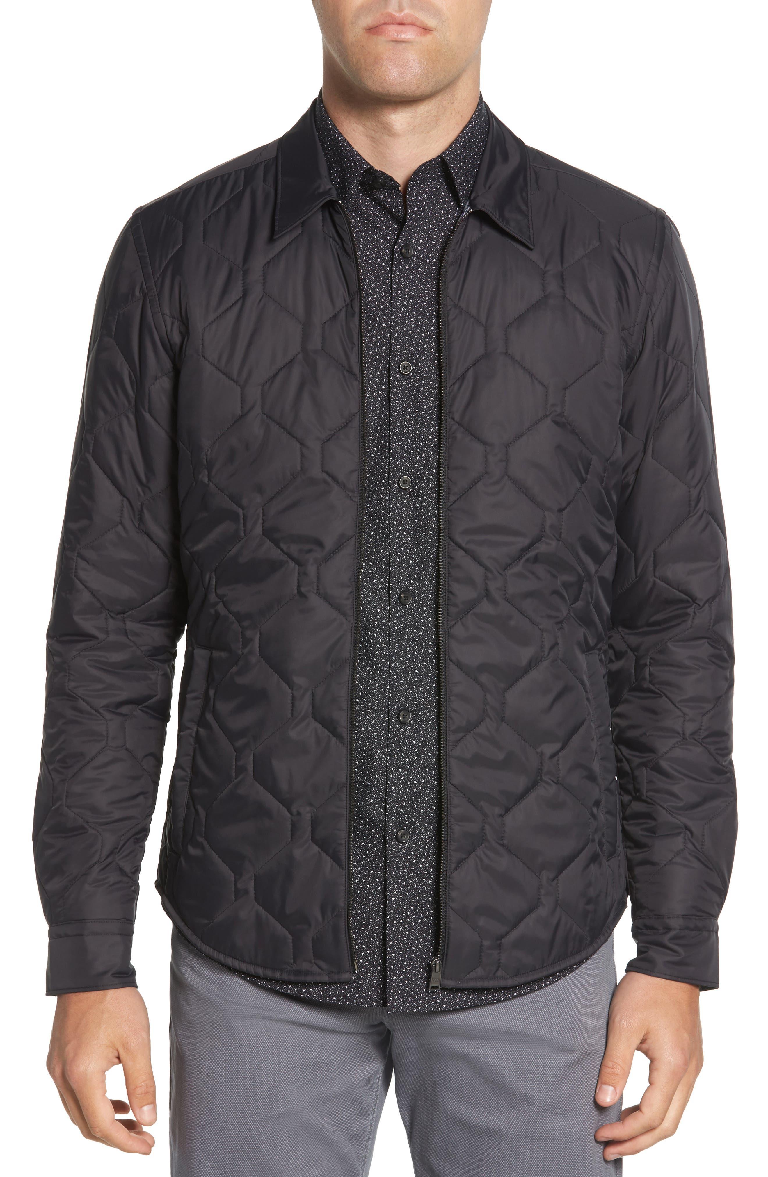 BOSS,                             Landolfo Regular Fit Quilted Jacket,                             Main thumbnail 1, color,                             BLACK