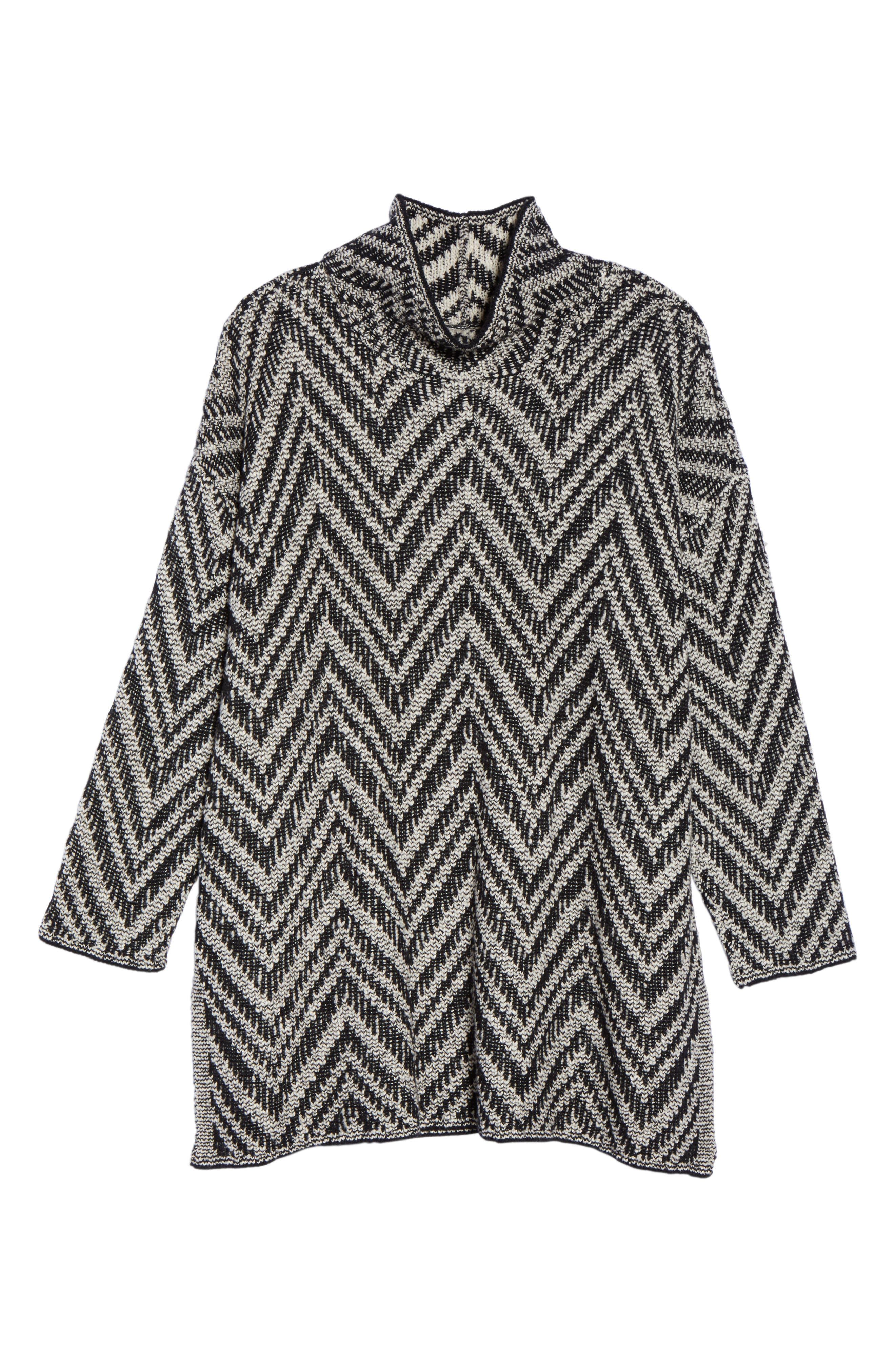 Zigzag Organic Cotton & Alpaca Tunic Sweater,                             Alternate thumbnail 6, color,                             012