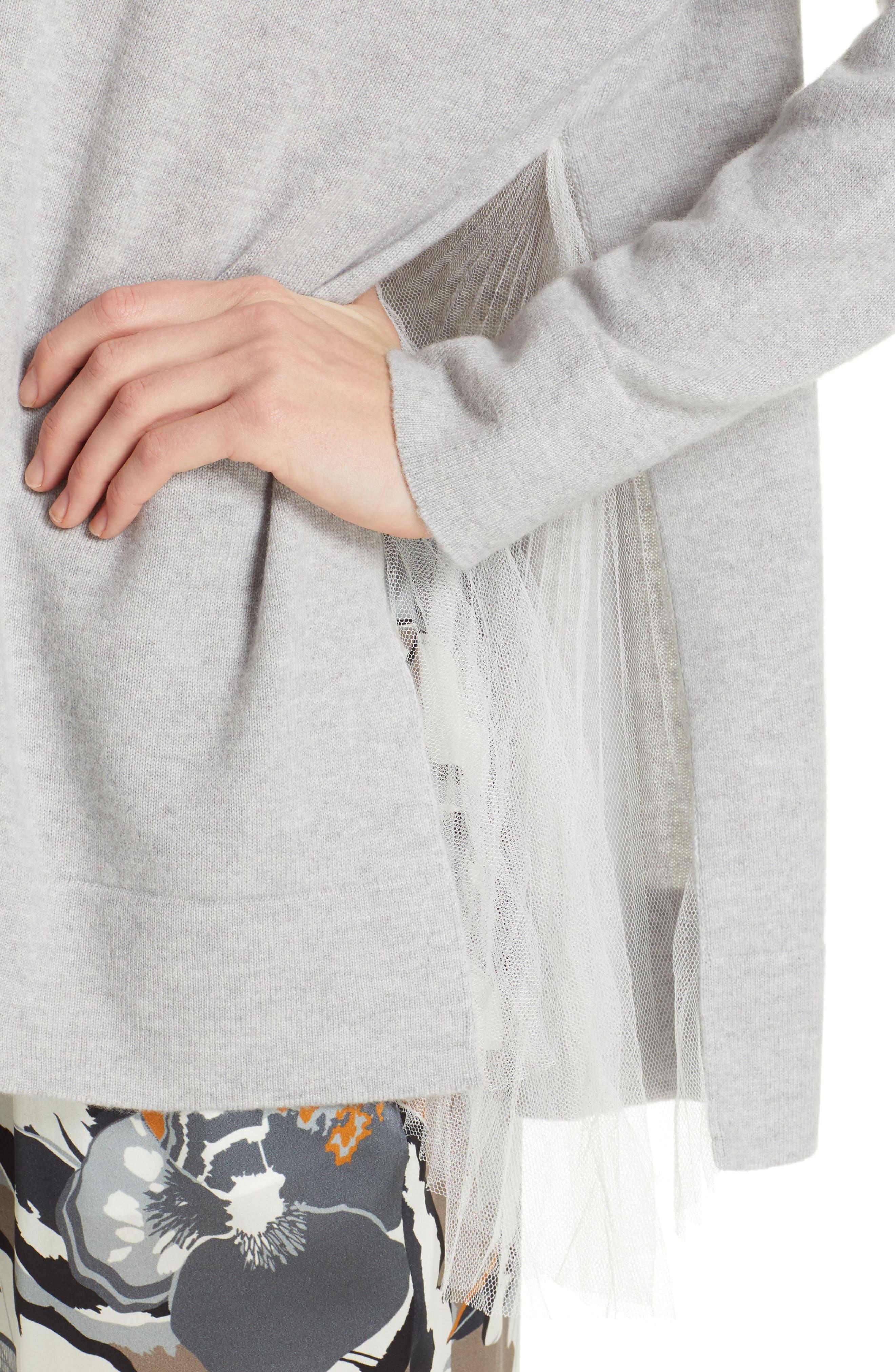 FABIANA FILIPPI,                             Tulle Inset Cashmere Sweater,                             Alternate thumbnail 4, color,                             GREY
