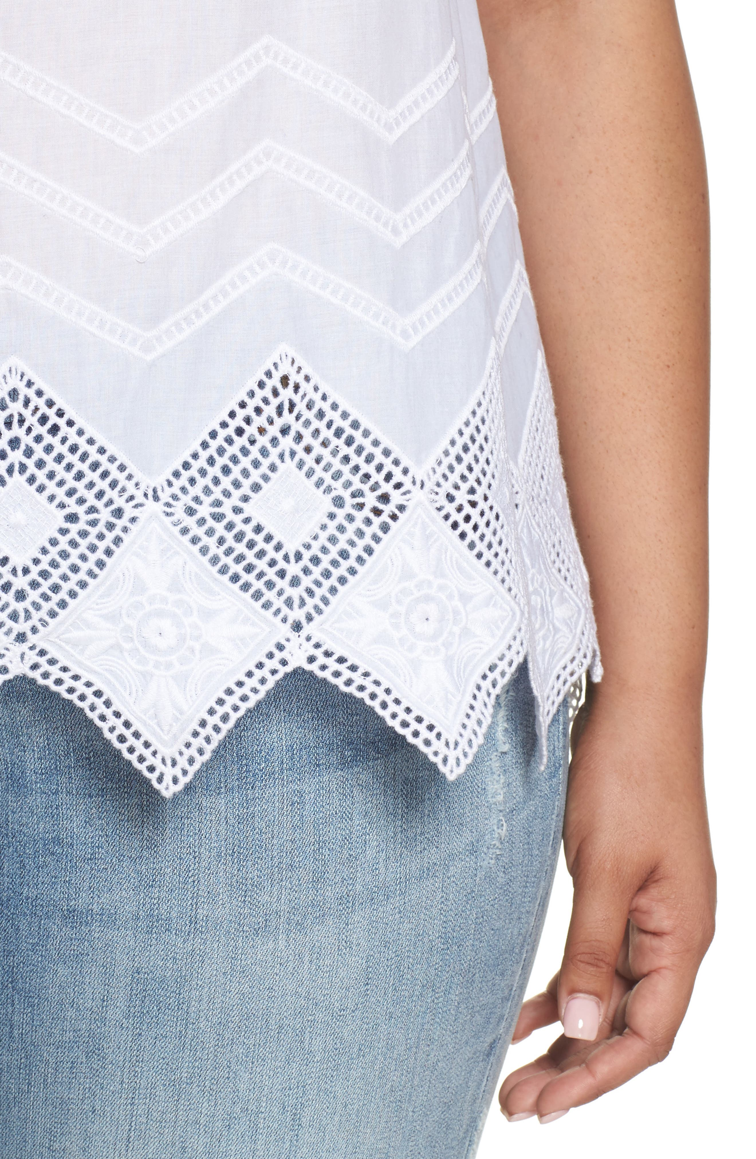 Embroidered Hem Top,                             Alternate thumbnail 4, color,                             100