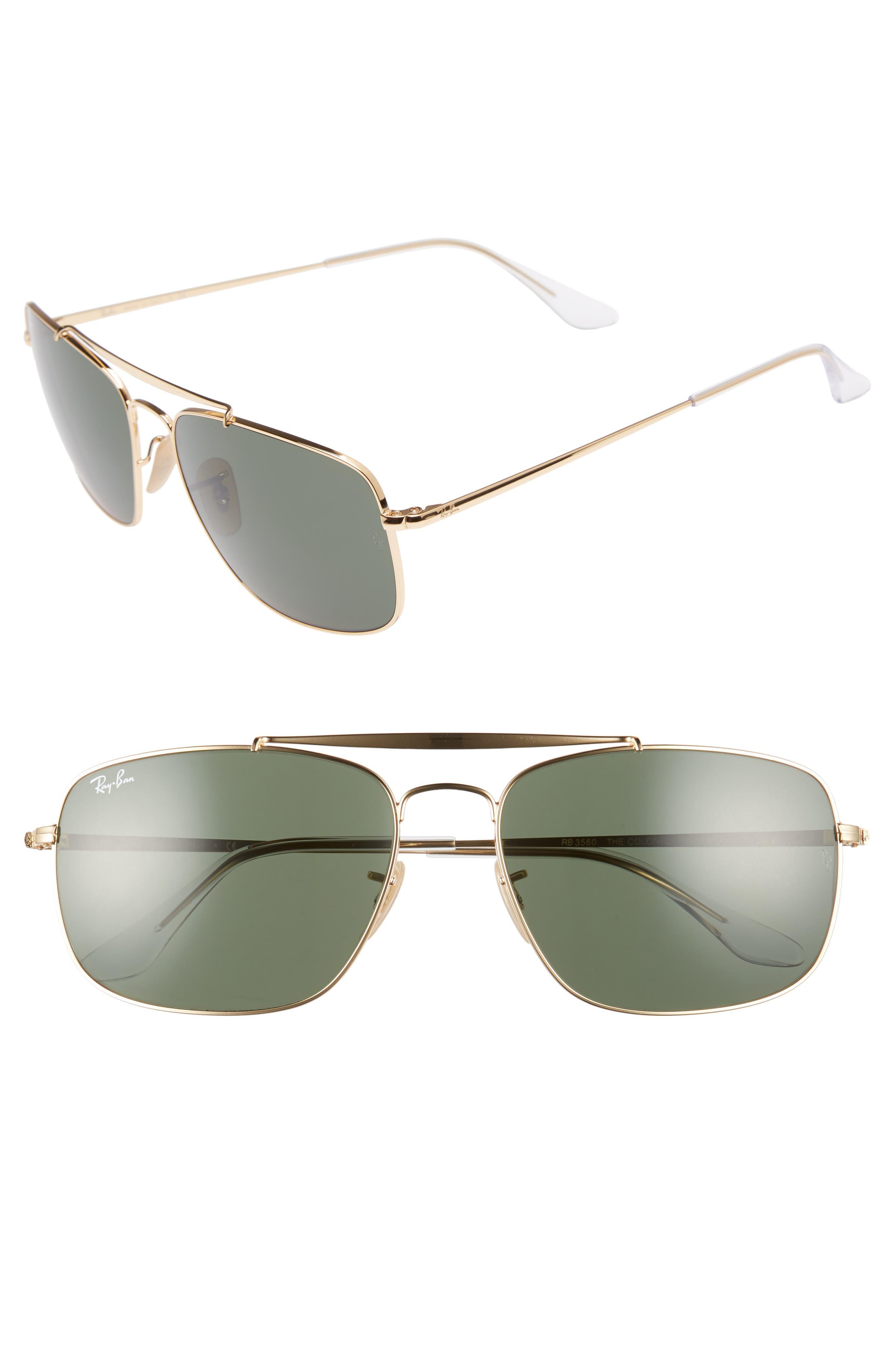 Ray-Ban The Colonel Square 61Mm Sunglasses - Gold