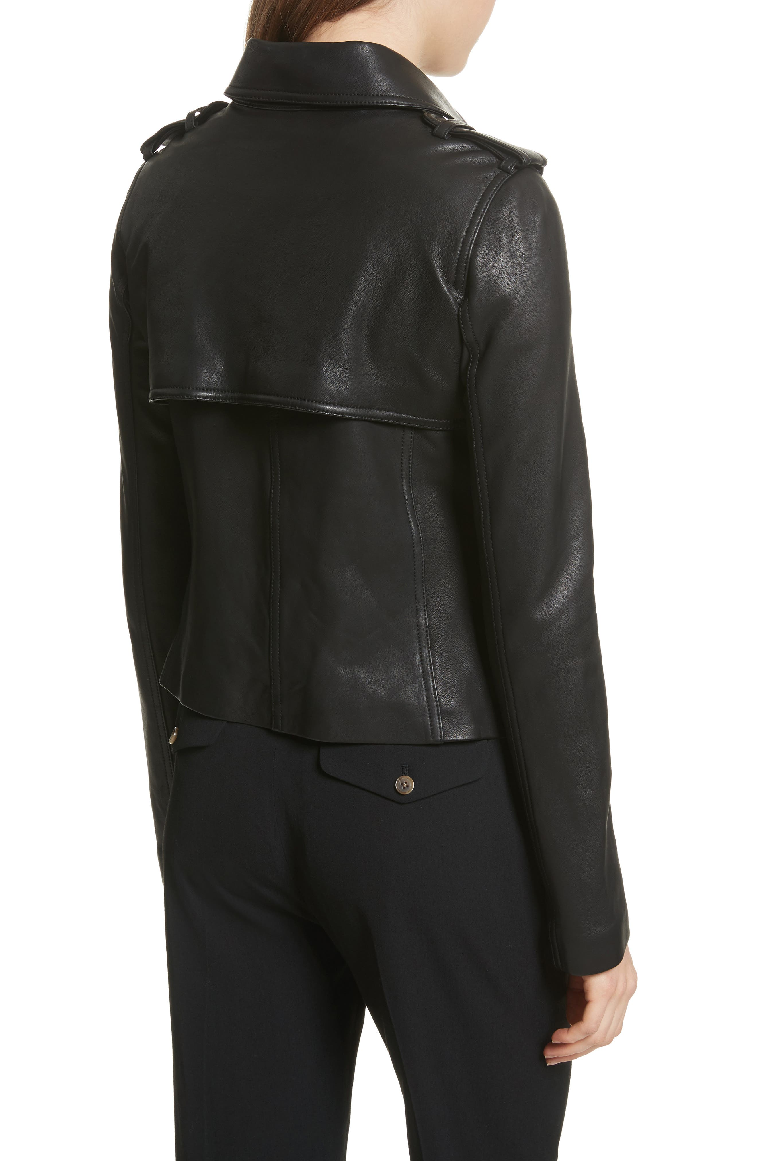 Crop Leather Trench Coat,                             Alternate thumbnail 2, color,                             001
