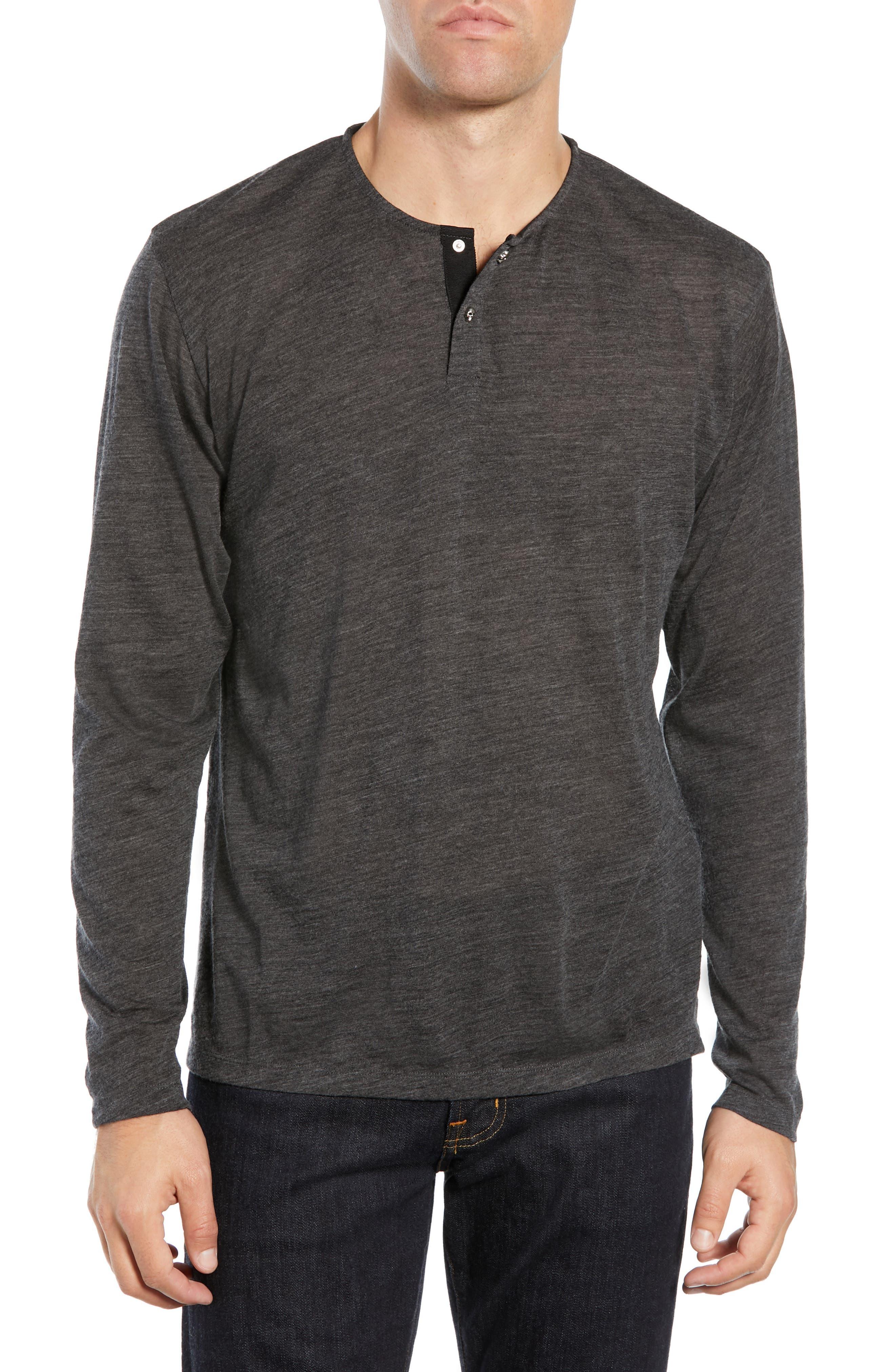 Skull Head Wool Henley T-Shirt, Main, color, 020