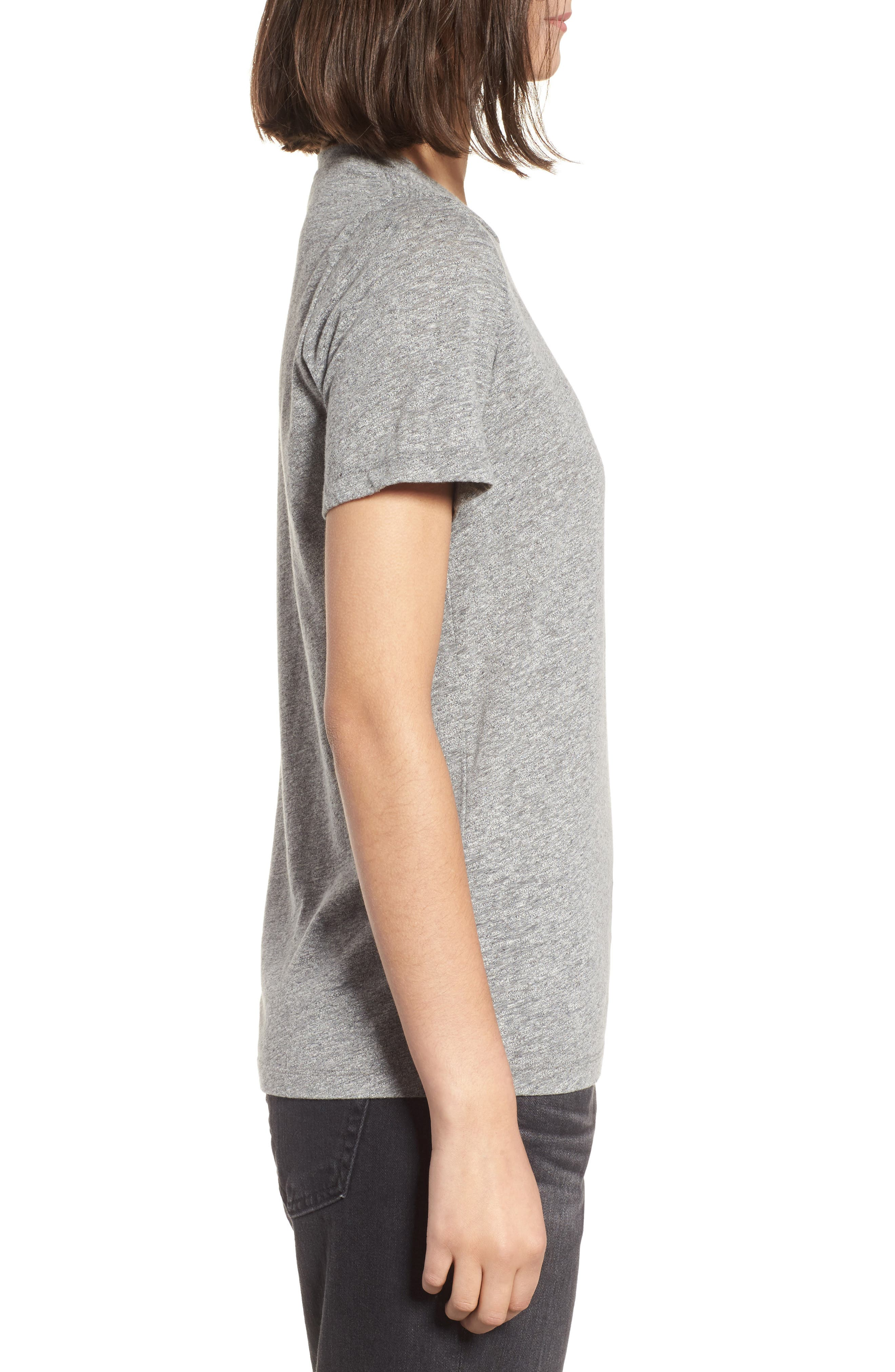 Gray Boyfriend Tee,                             Alternate thumbnail 3, color,                             SPECKLED HEATHER GREY