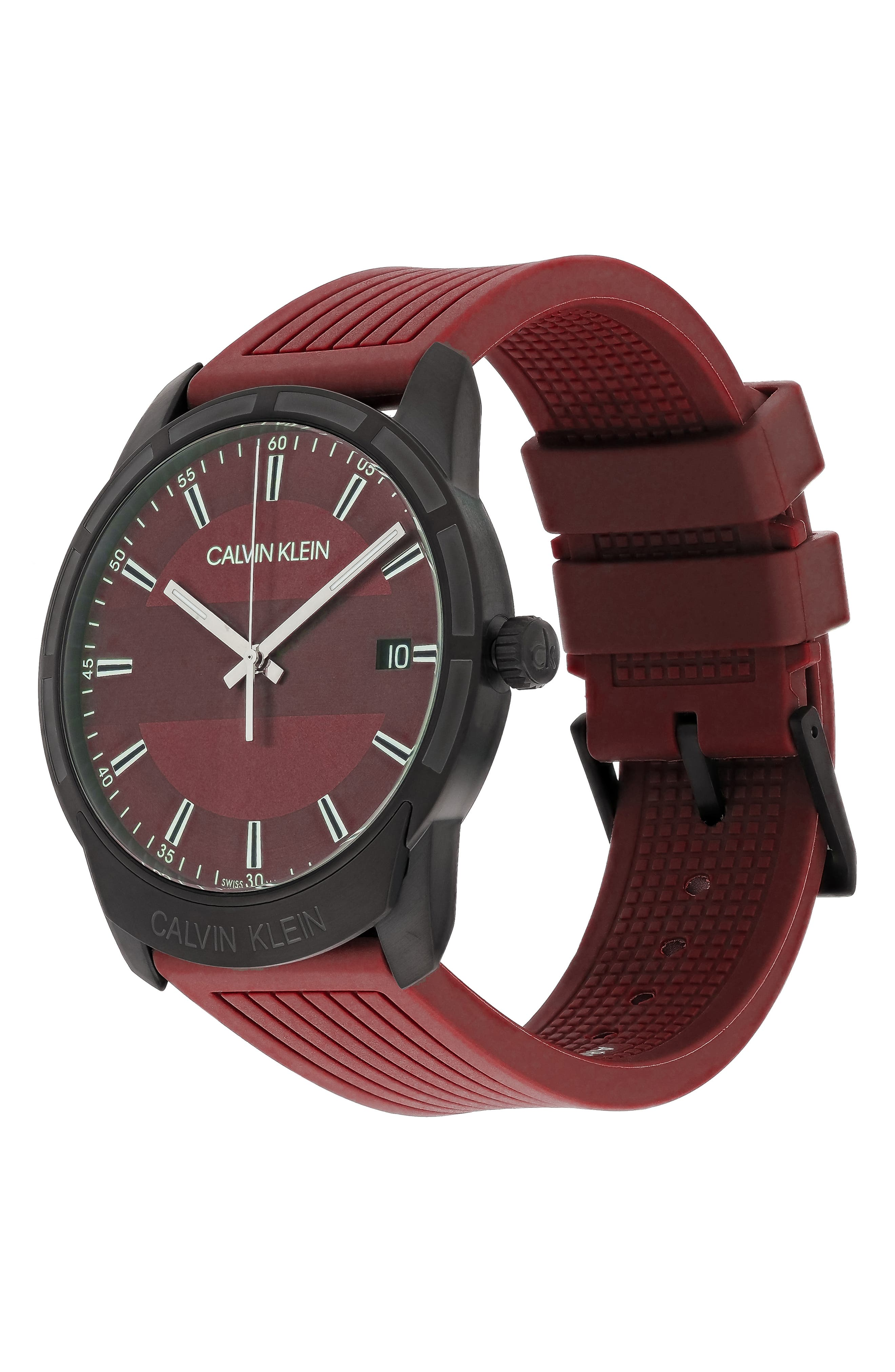 Evidence Silicone Band Watch, 42mm,                             Alternate thumbnail 4, color,                             RED/ BLACK