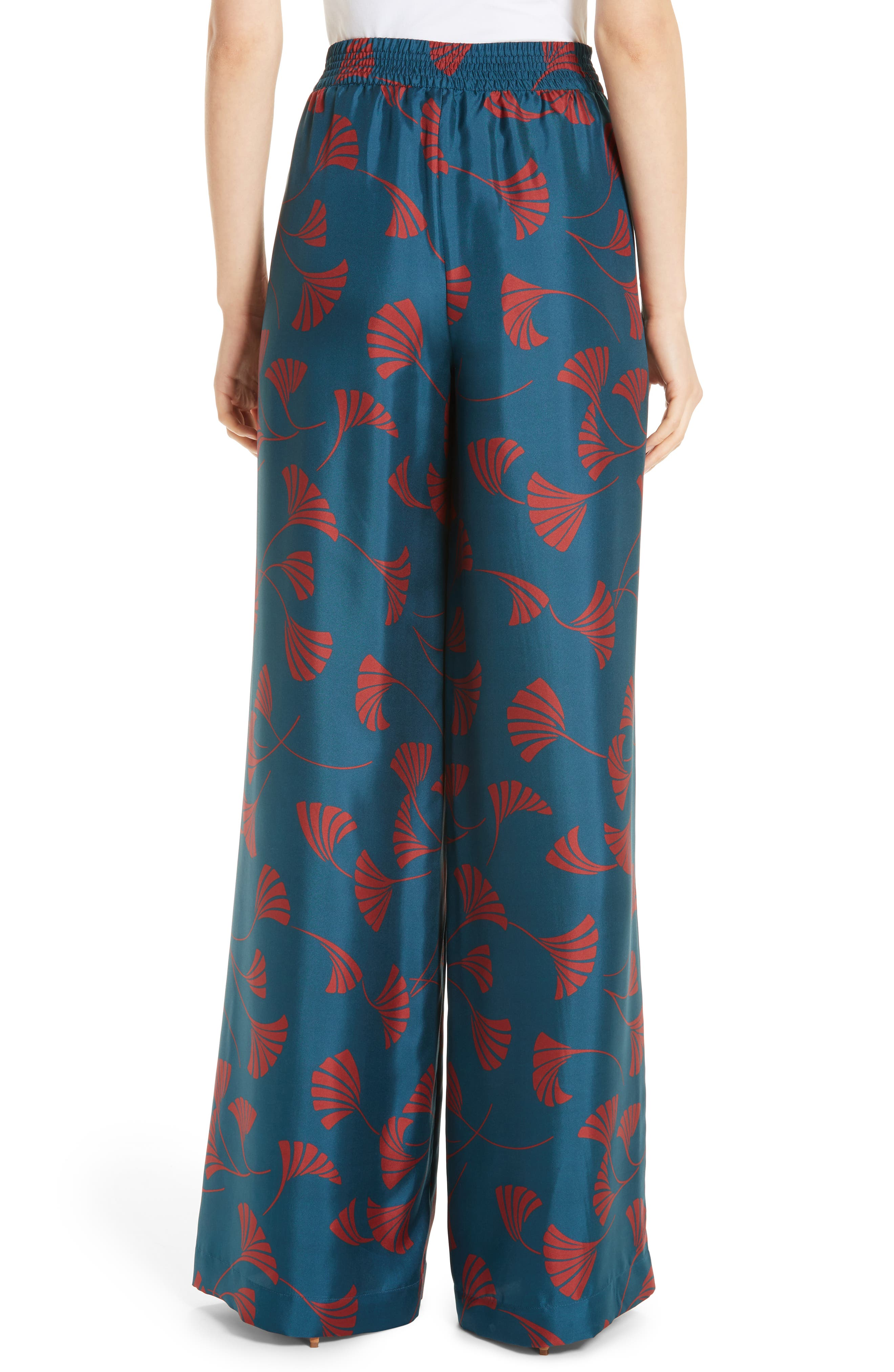 Hester Silk Wide Leg Pants,                             Alternate thumbnail 2, color,                             EMPRESS TEAL MULTI