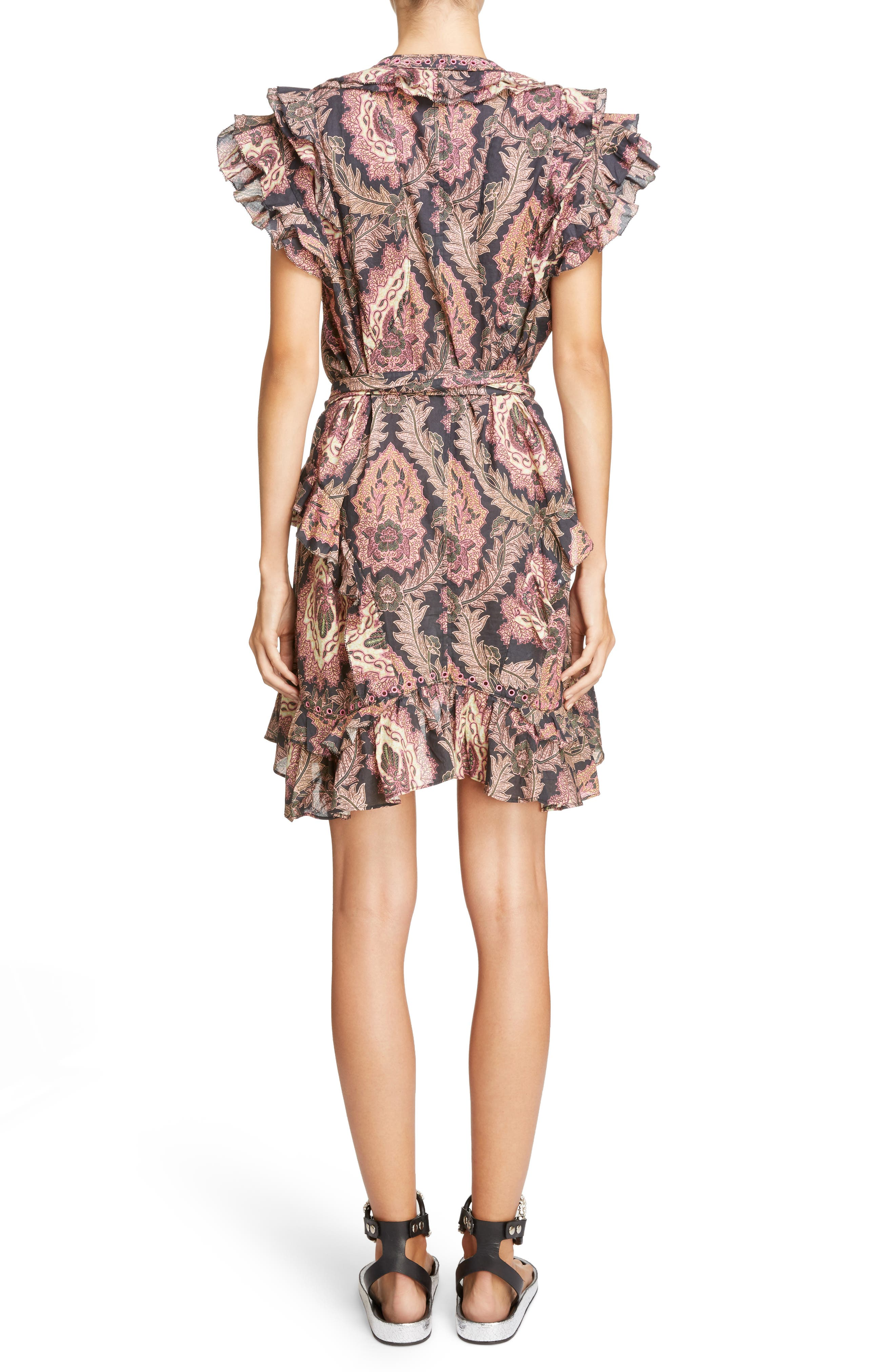 Paisley Print Ruffle Trim Dress,                             Alternate thumbnail 2, color,                             600