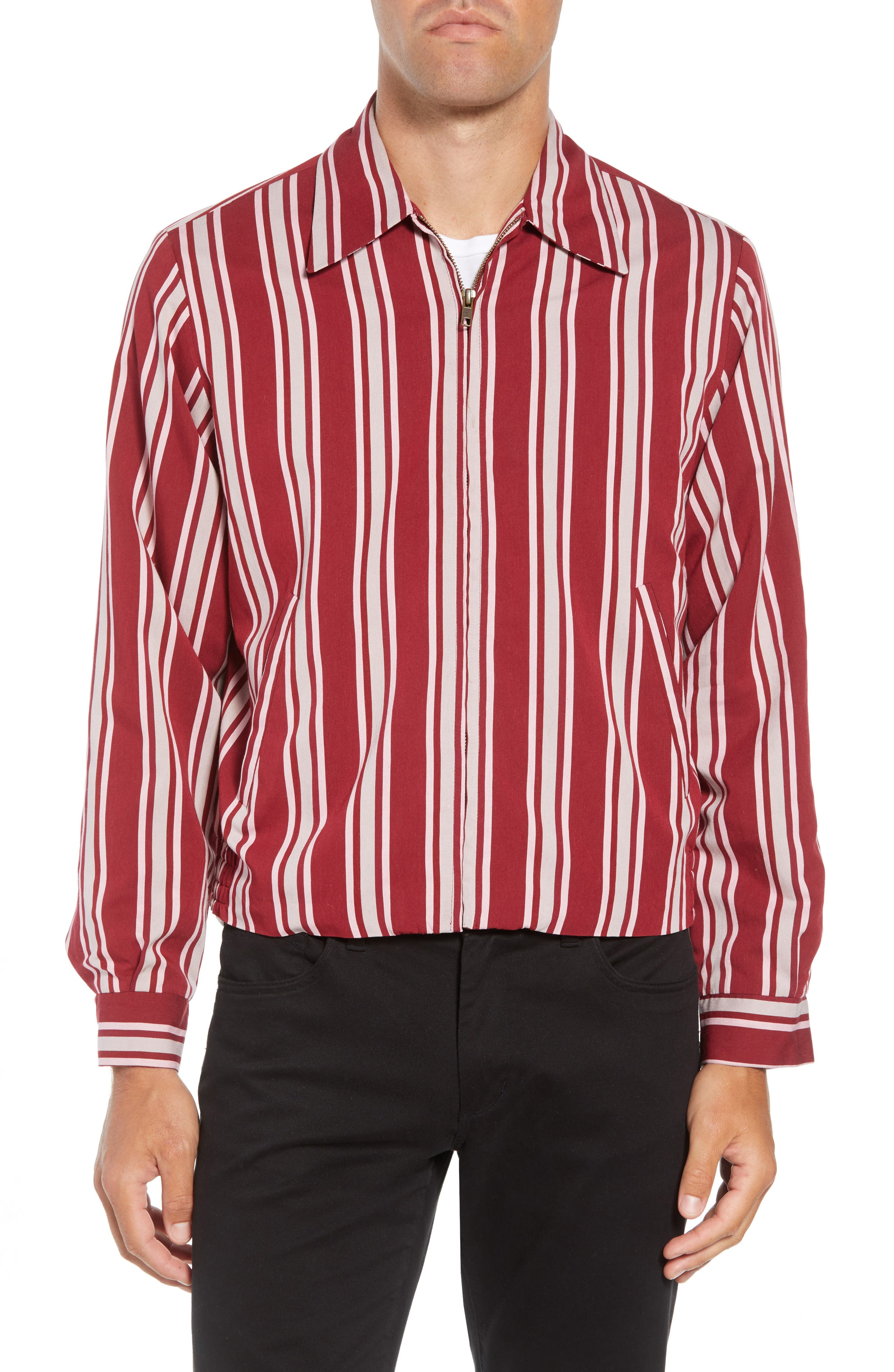 Fifty Regular Fit Shirt Jacket,                             Alternate thumbnail 4, color,                             RED STRIPE