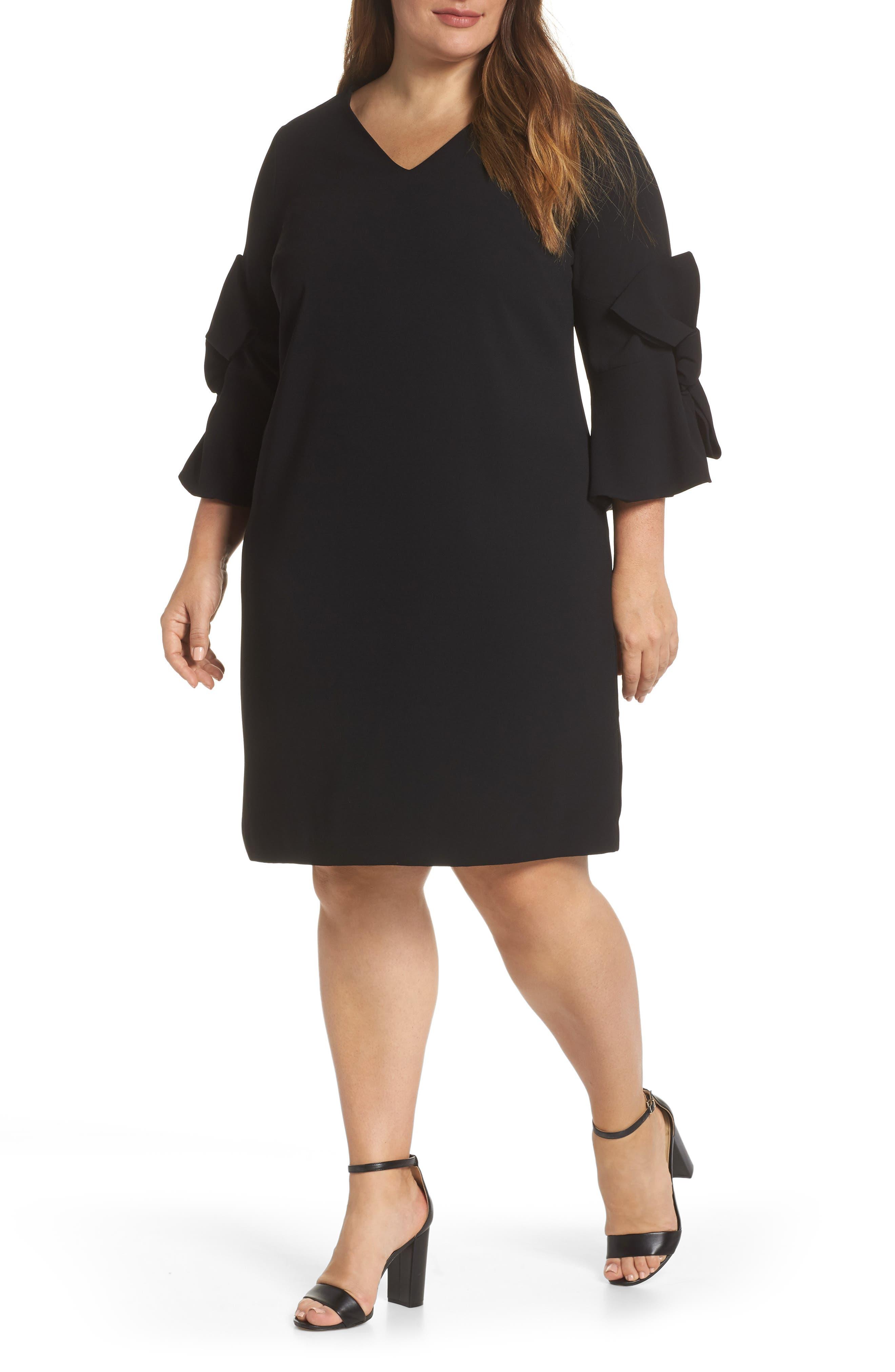 Moss Crepe Bow Shift Dress,                             Main thumbnail 1, color,                             RICH BLACK