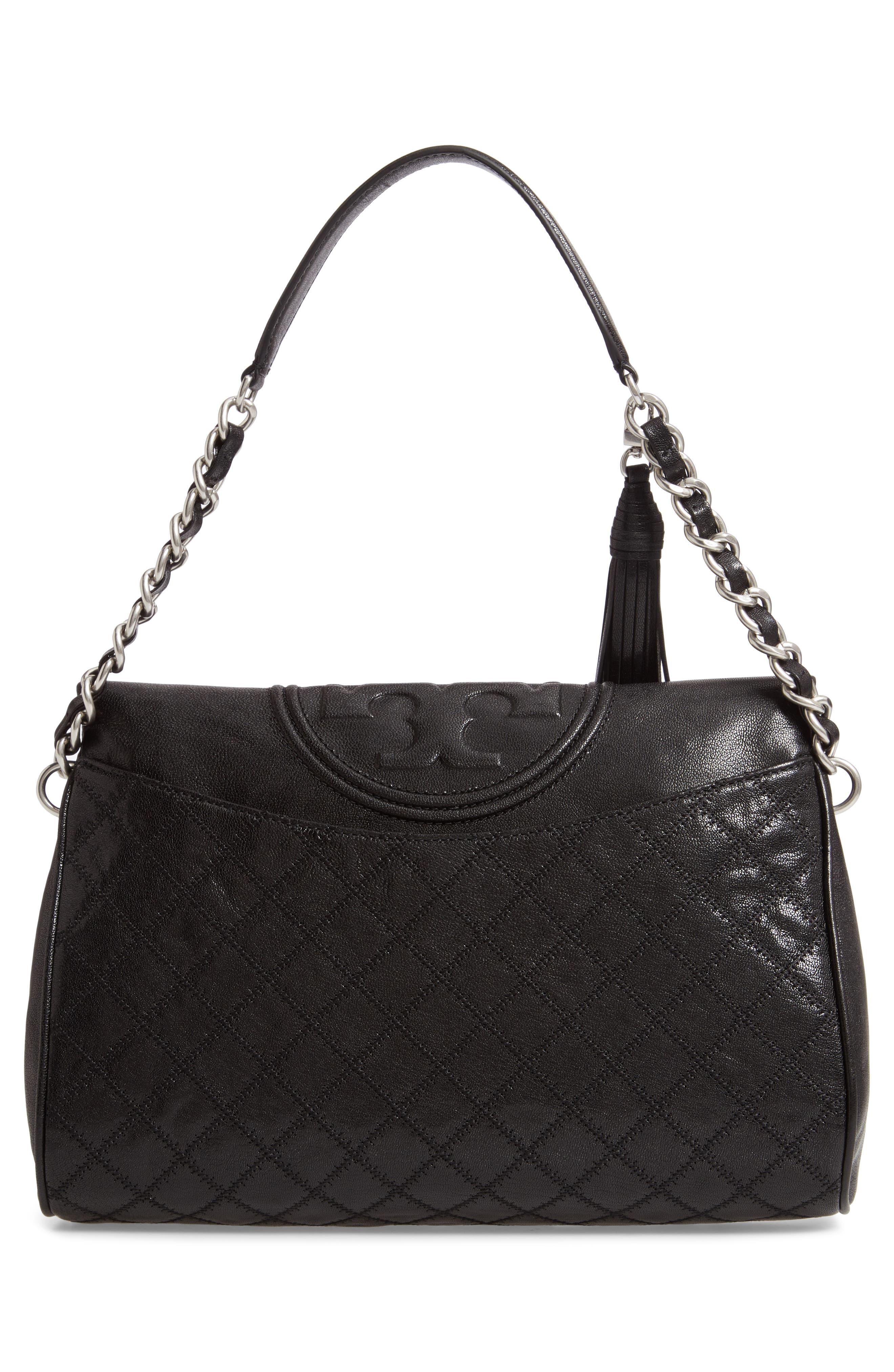Fleming Leather Foldover Hobo,                             Alternate thumbnail 3, color,                             BLACK