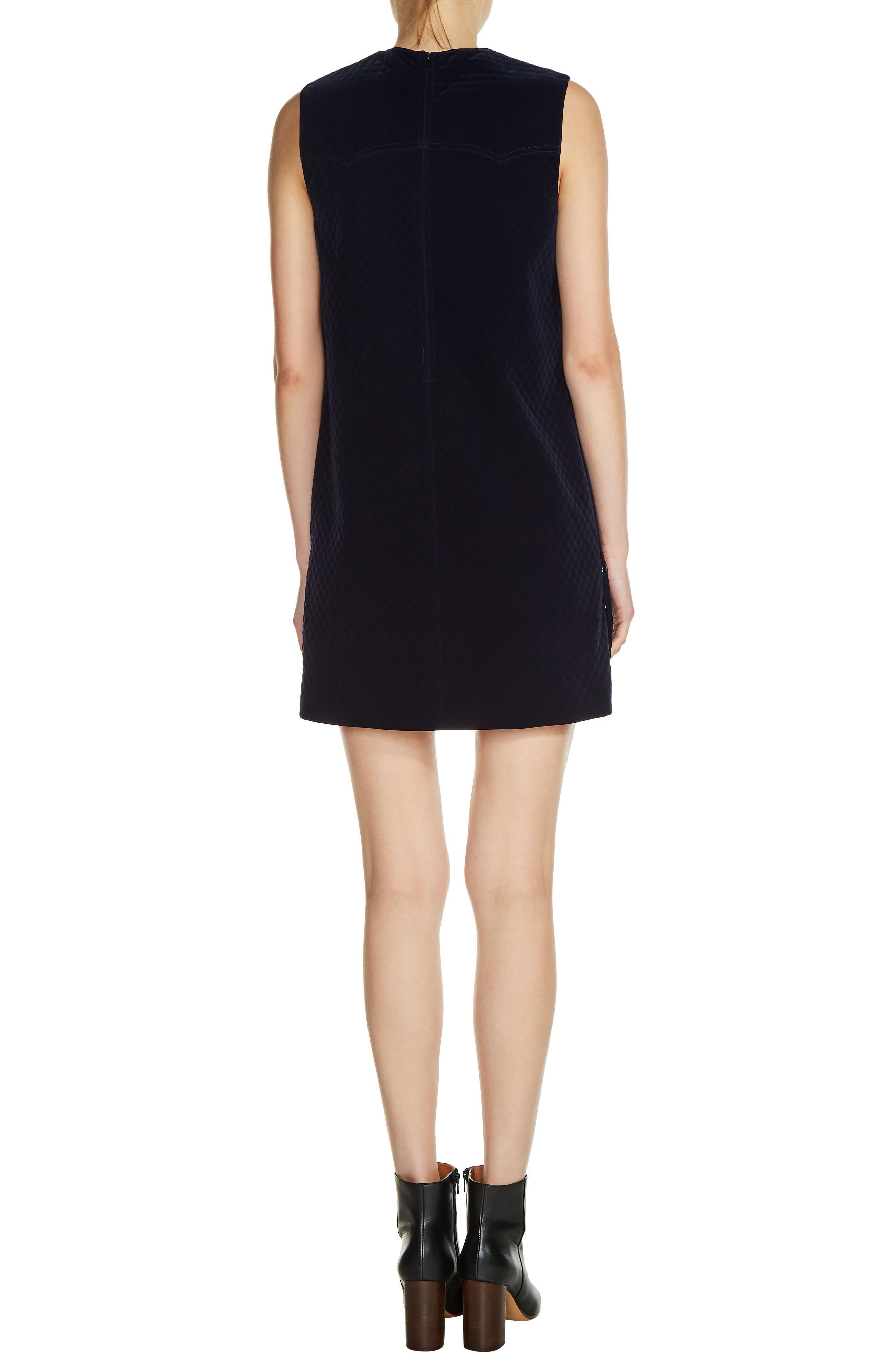 Quilted Velvet Shift Dress,                             Alternate thumbnail 2, color,                             400