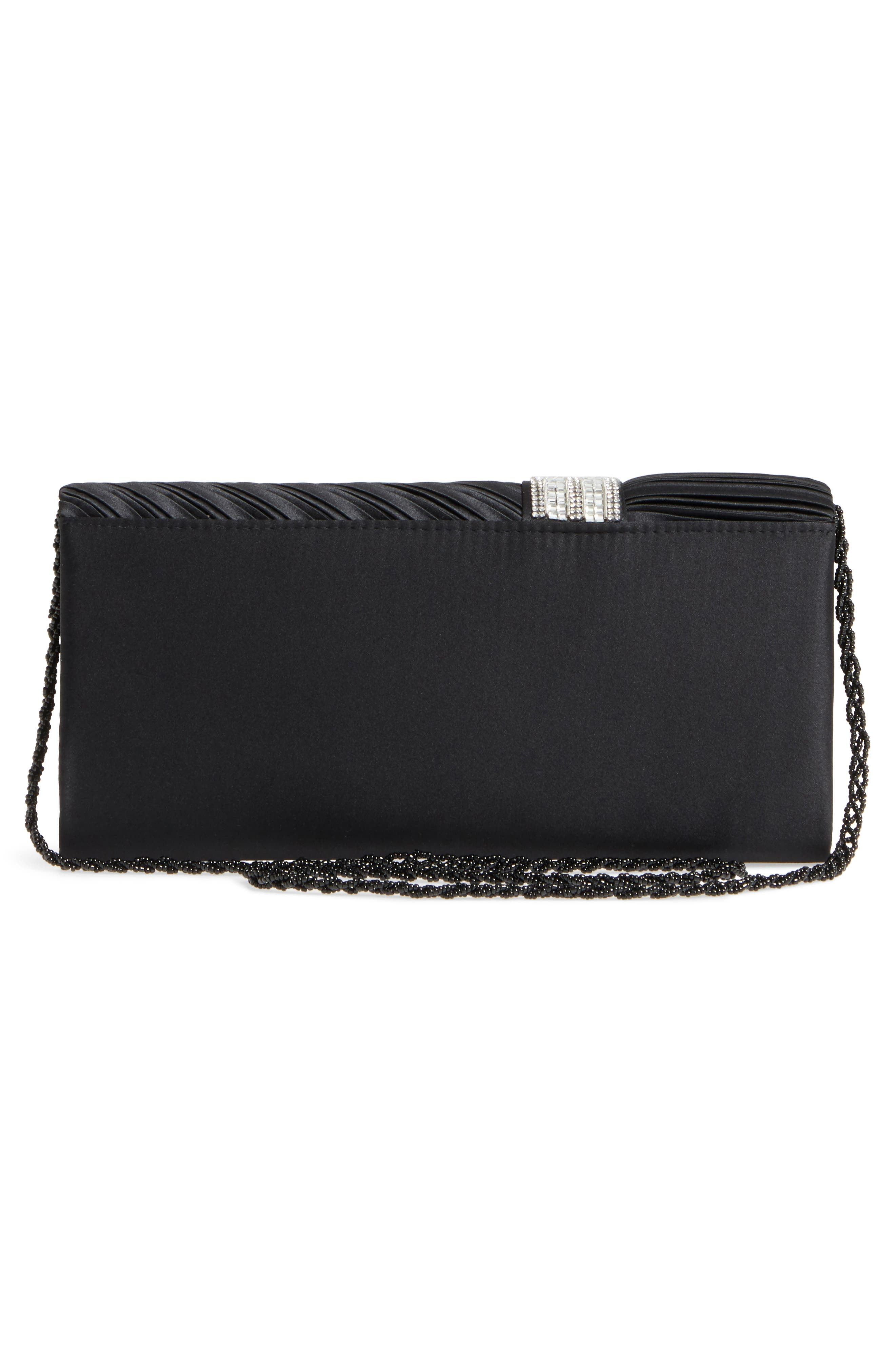 Daylie Pleated Satin Clutch,                             Alternate thumbnail 3, color,                             001