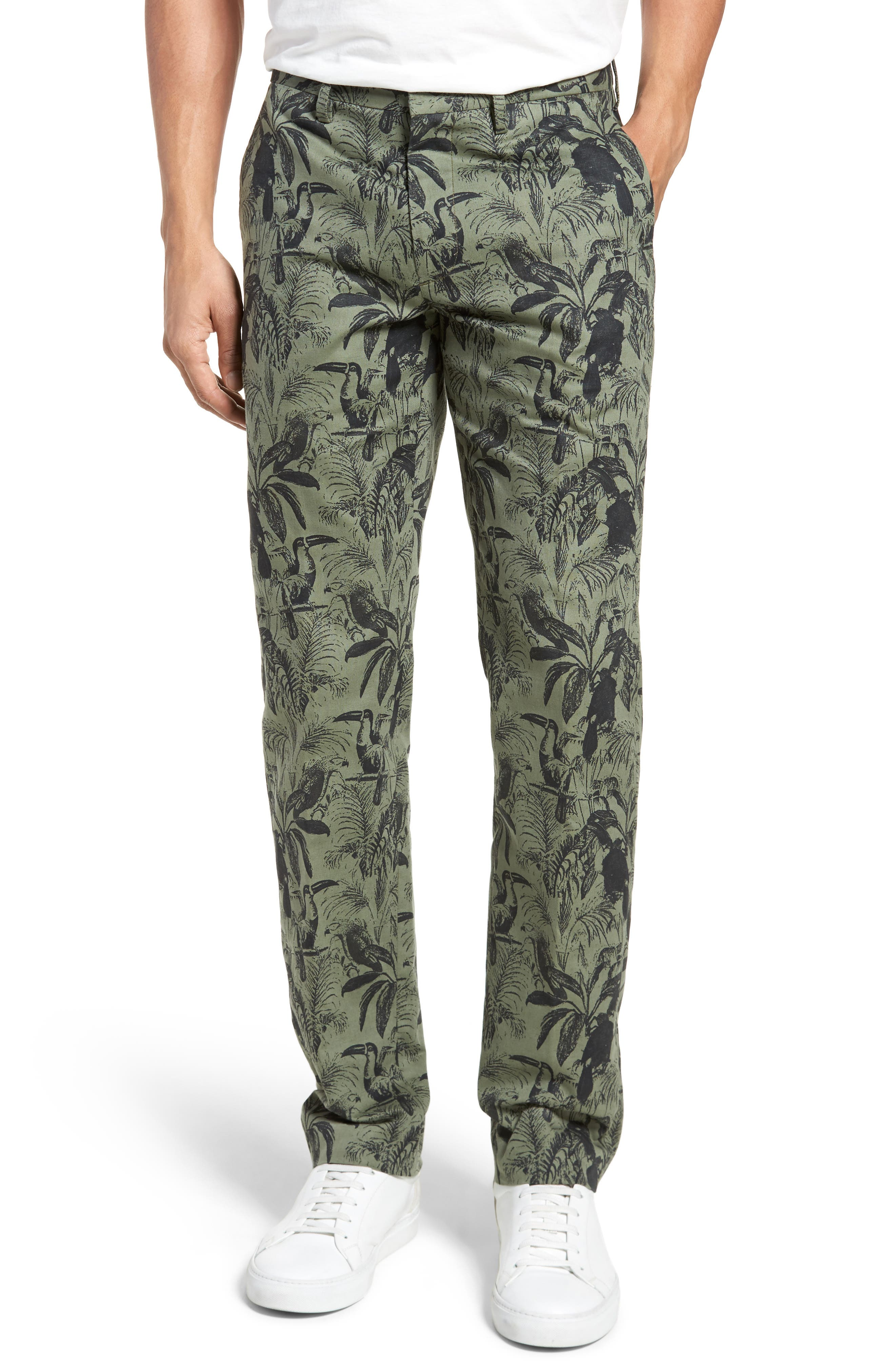 Foundation Print Slim Fit Trousers,                         Main,                         color, 300
