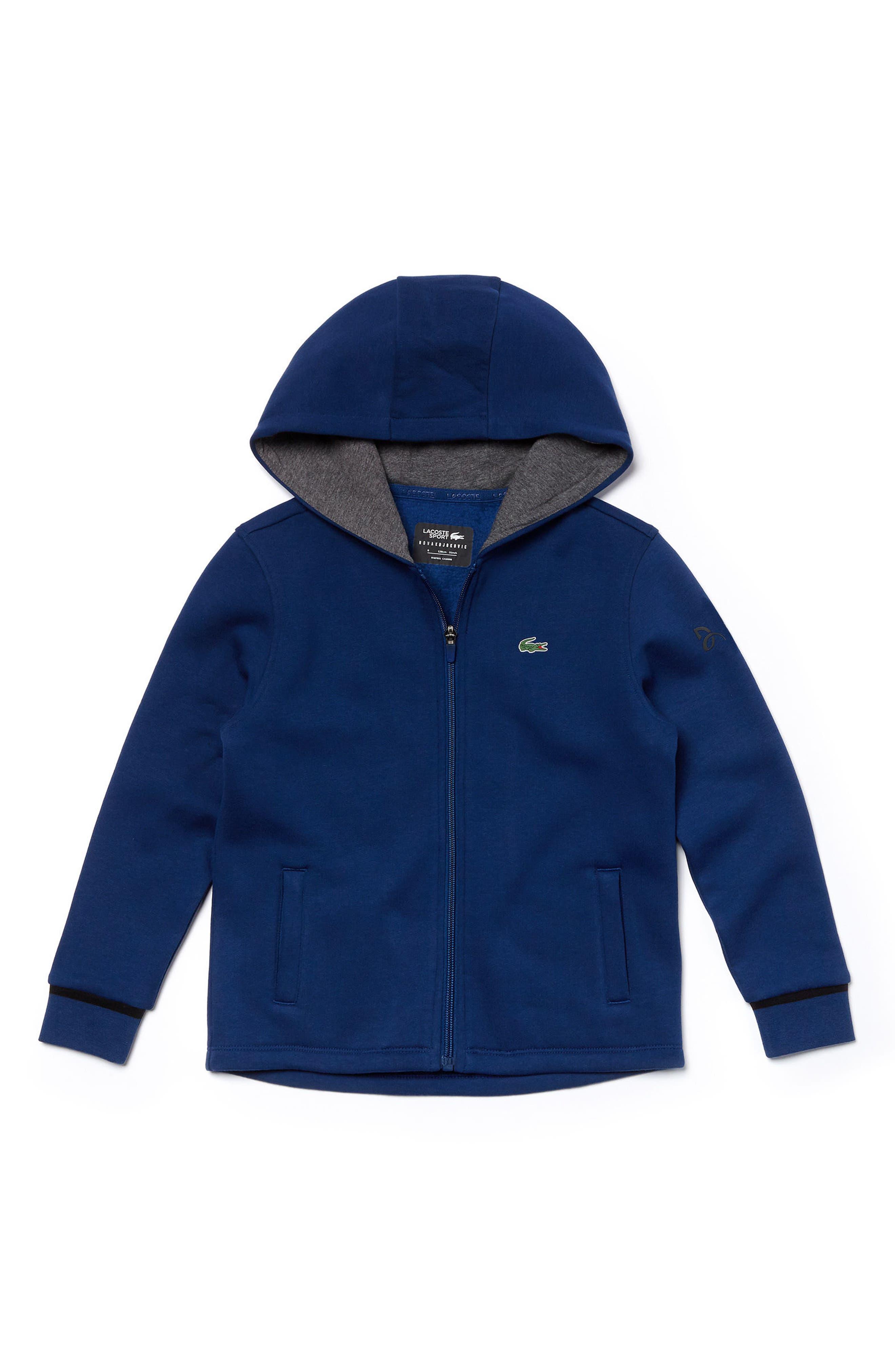 Fan Zip Hoodie,                         Main,                         color, NAVY BLUE/ WHITE