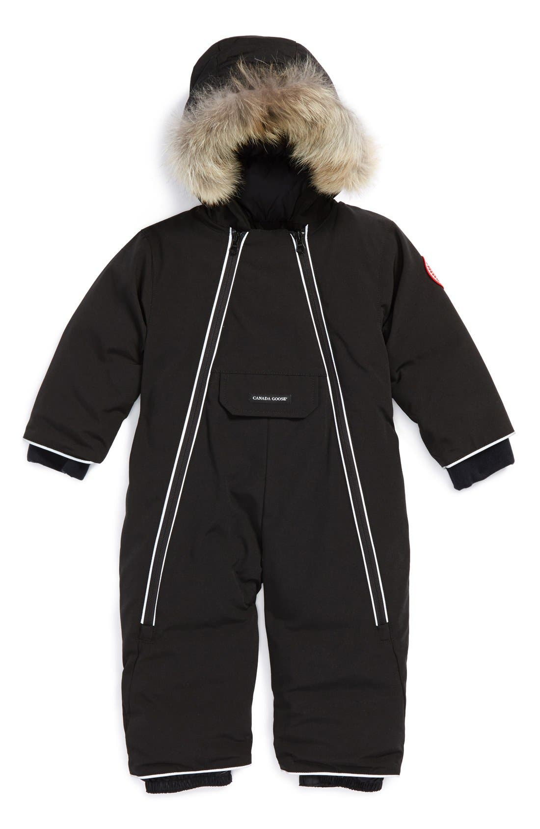 'Lamb' Down Snowsuit with Genuine Coyote Fur Trim,                         Main,                         color, 001