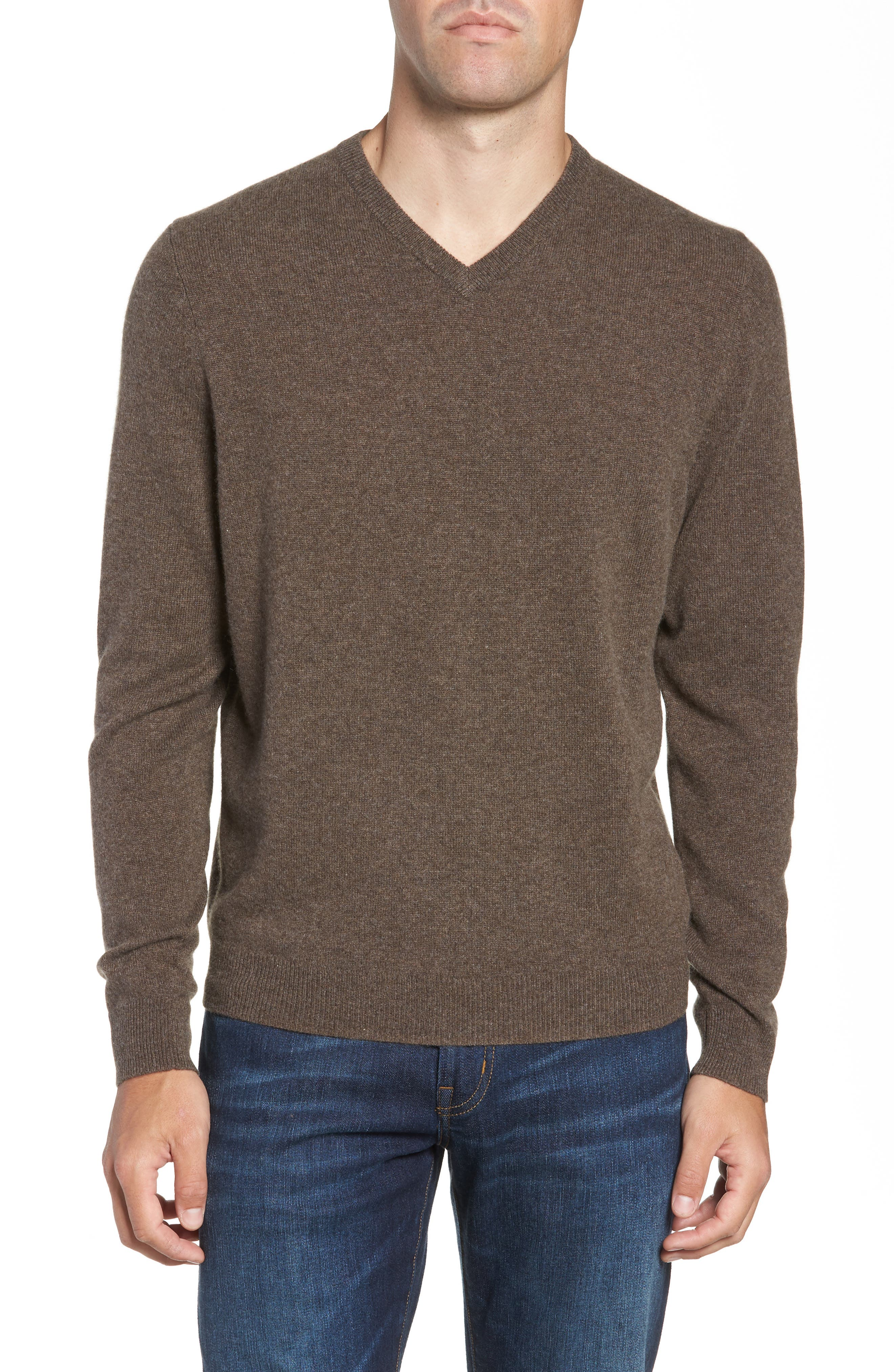 Cashmere V-Neck Sweater,                             Main thumbnail 1, color,                             BROWN FAWN